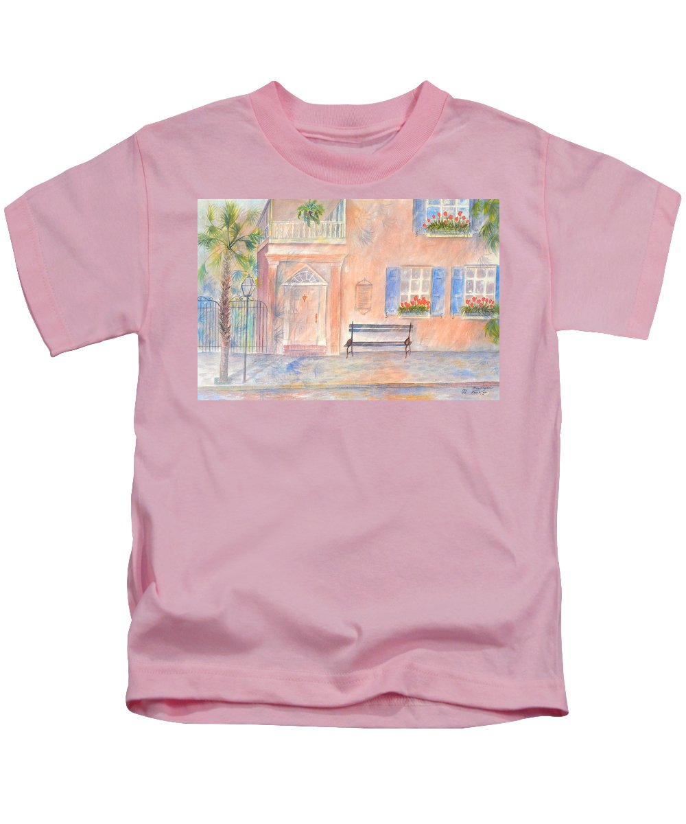 Charleston Kids T-Shirt featuring the painting Sunday Morning in Charleston by Ben Kiger