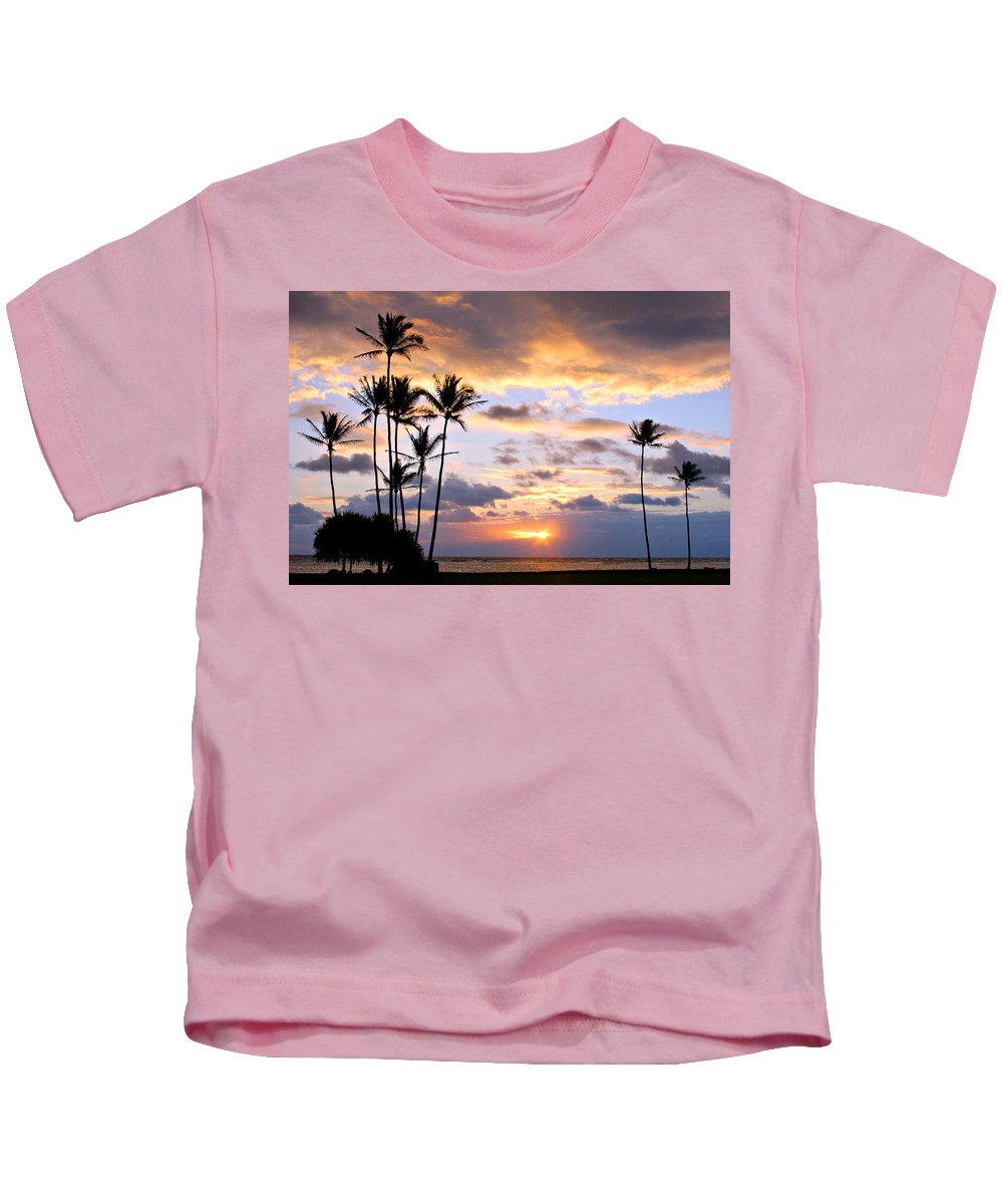 Sunrise Kids T-Shirt featuring the photograph Sunrise Between Palms by Stacy Egnor