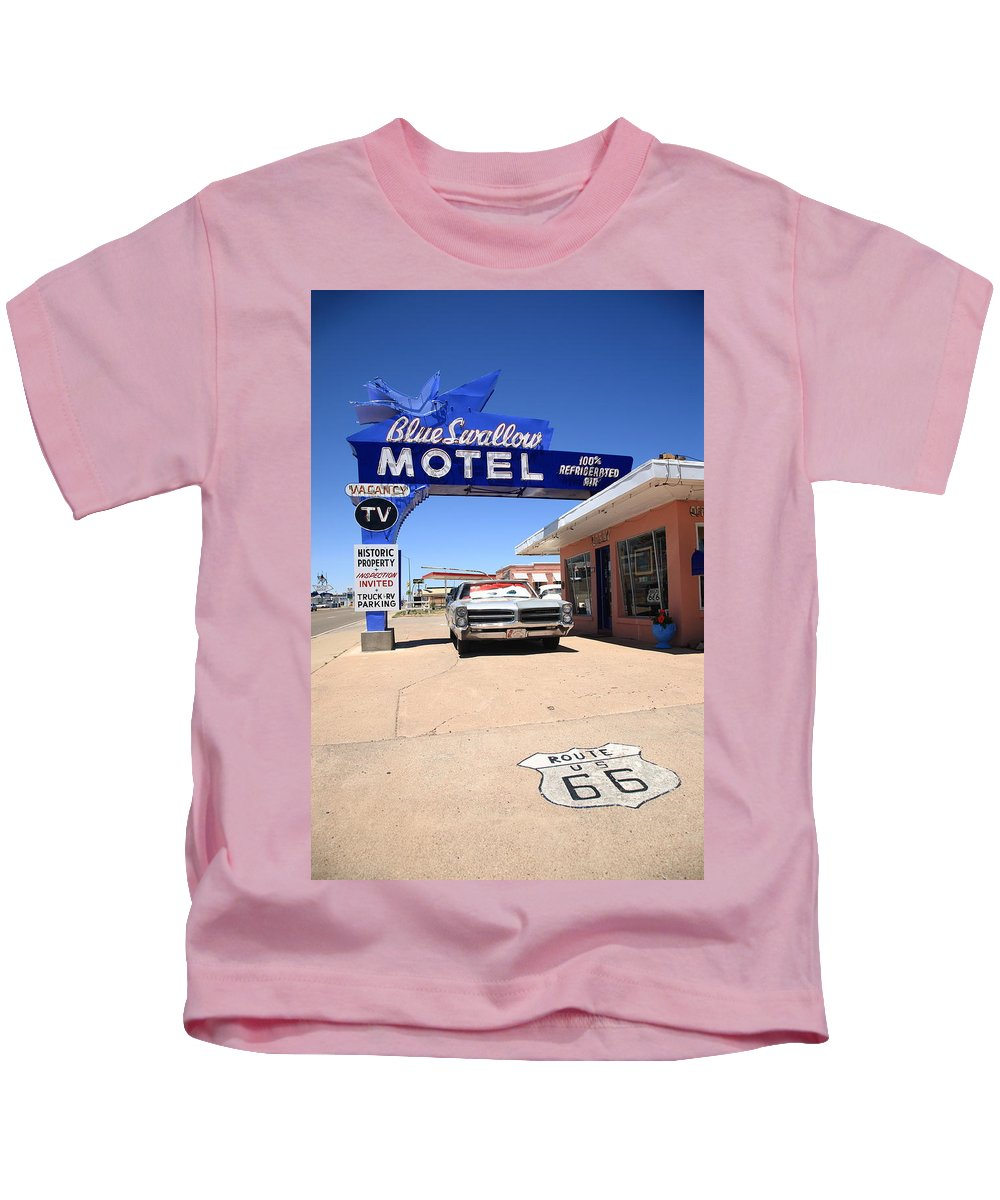 66 Kids T-Shirt featuring the photograph Route 66 - Blue Swallow Motel by Frank Romeo
