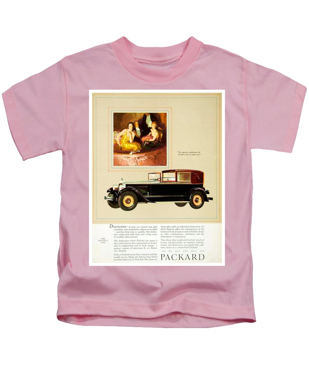 1926 Kids T-Shirt featuring the digital art 1926 - Packard Automobile Advertisement - Color by John Madison