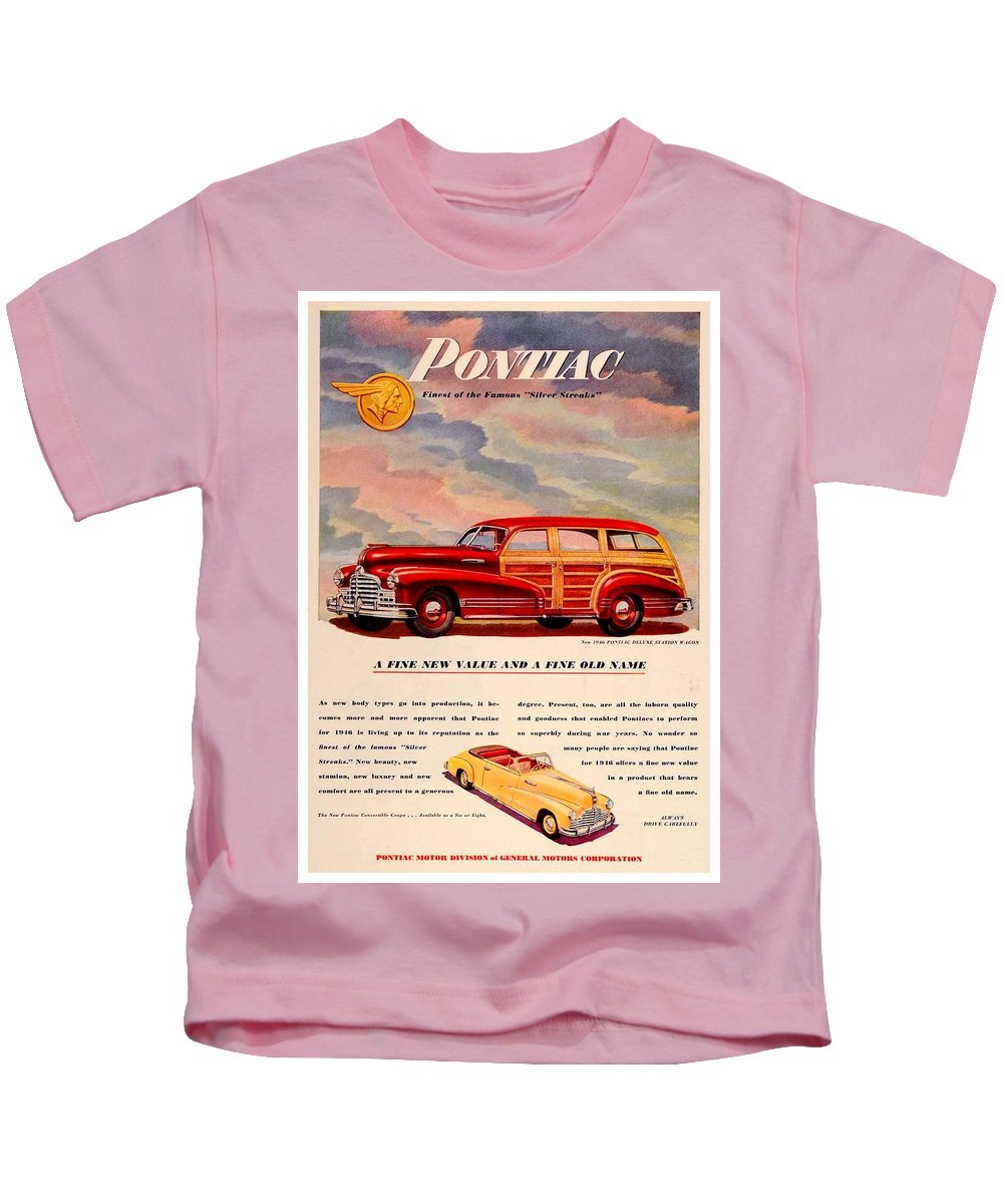 1946 Kids T-Shirt featuring the digital art 1946 - Pontiac Woodie Station Wagon And Convertible Advertisement - Color by John Madison