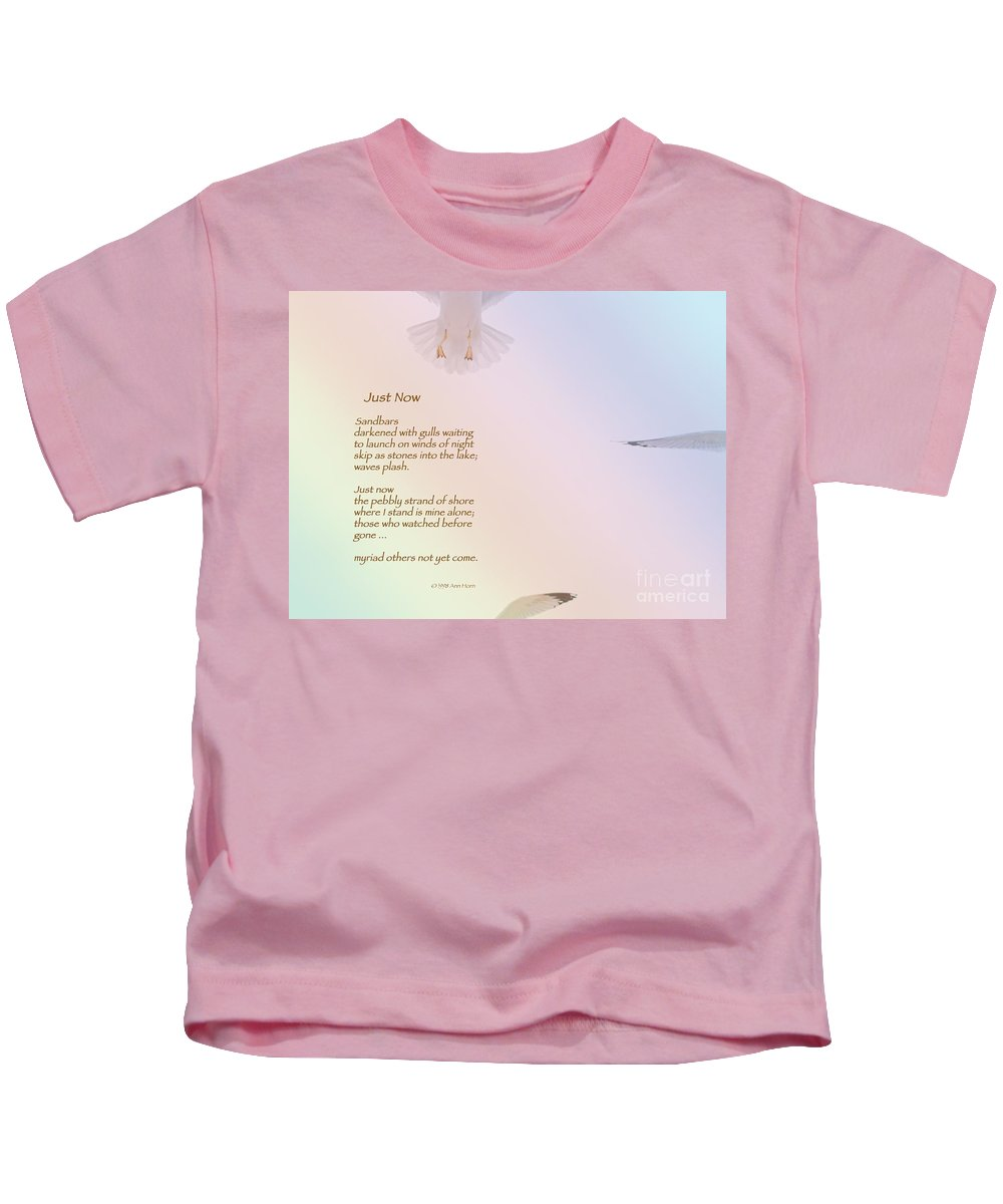 Seagull Kids T-Shirt featuring the photograph Just Now by Ann Horn