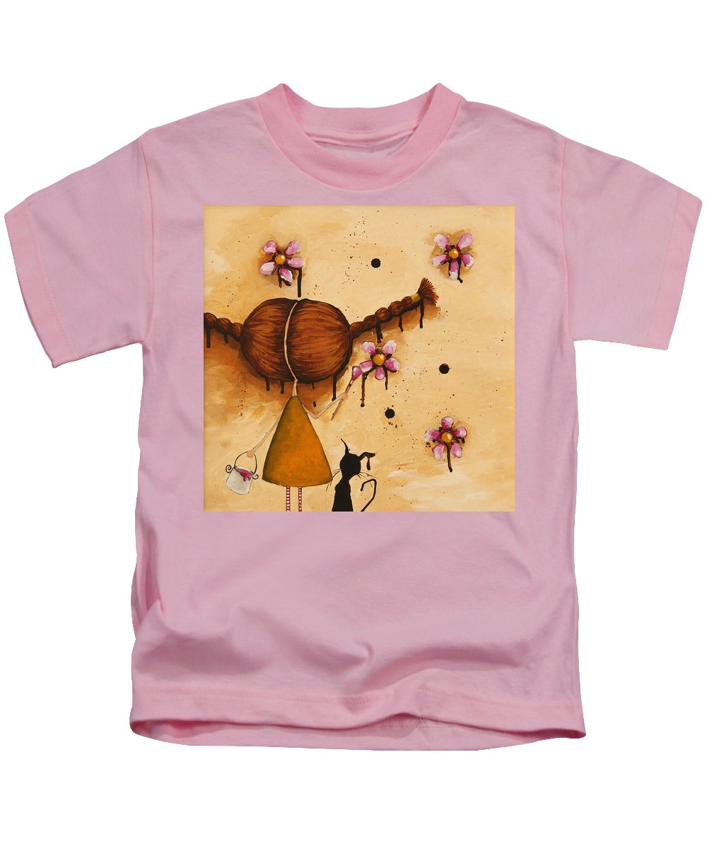 Whimsical Kids T-Shirt featuring the painting Painting Flowers by Lucia Stewart