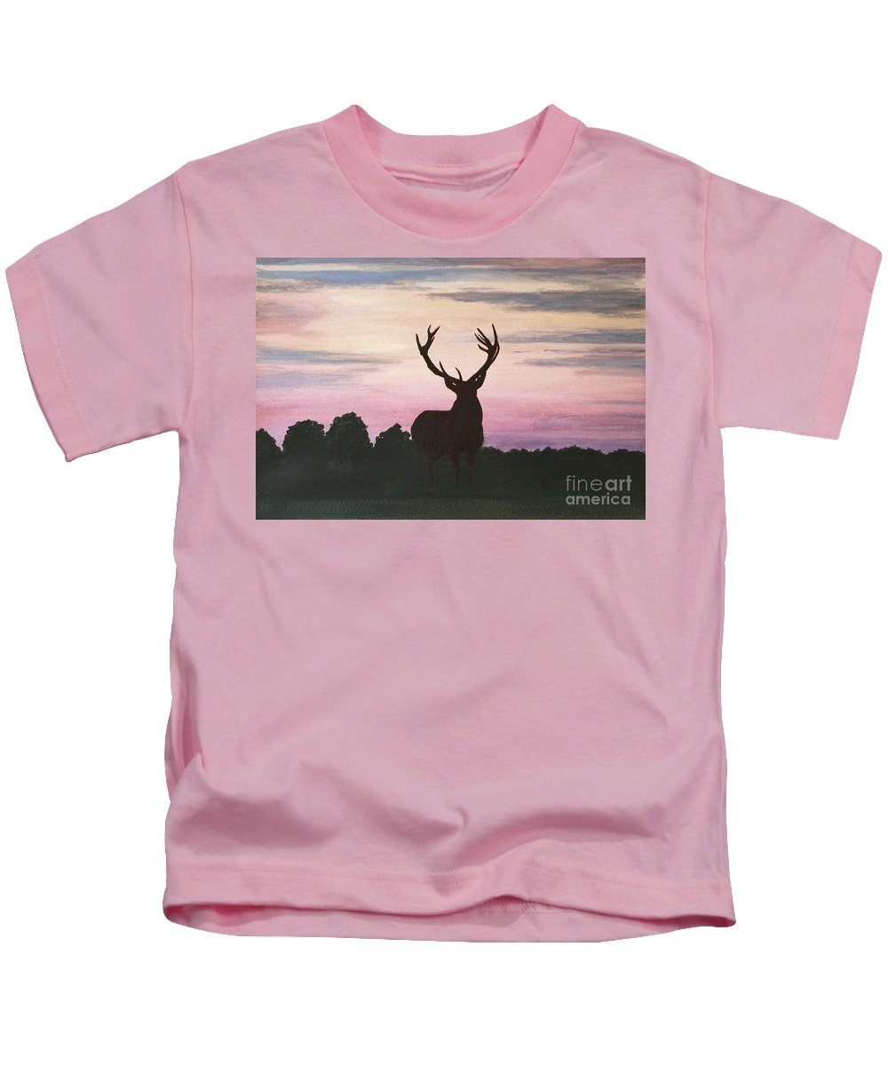 Animal Kids T-Shirt featuring the painting Red Stag At Dusk by Shirley Miller