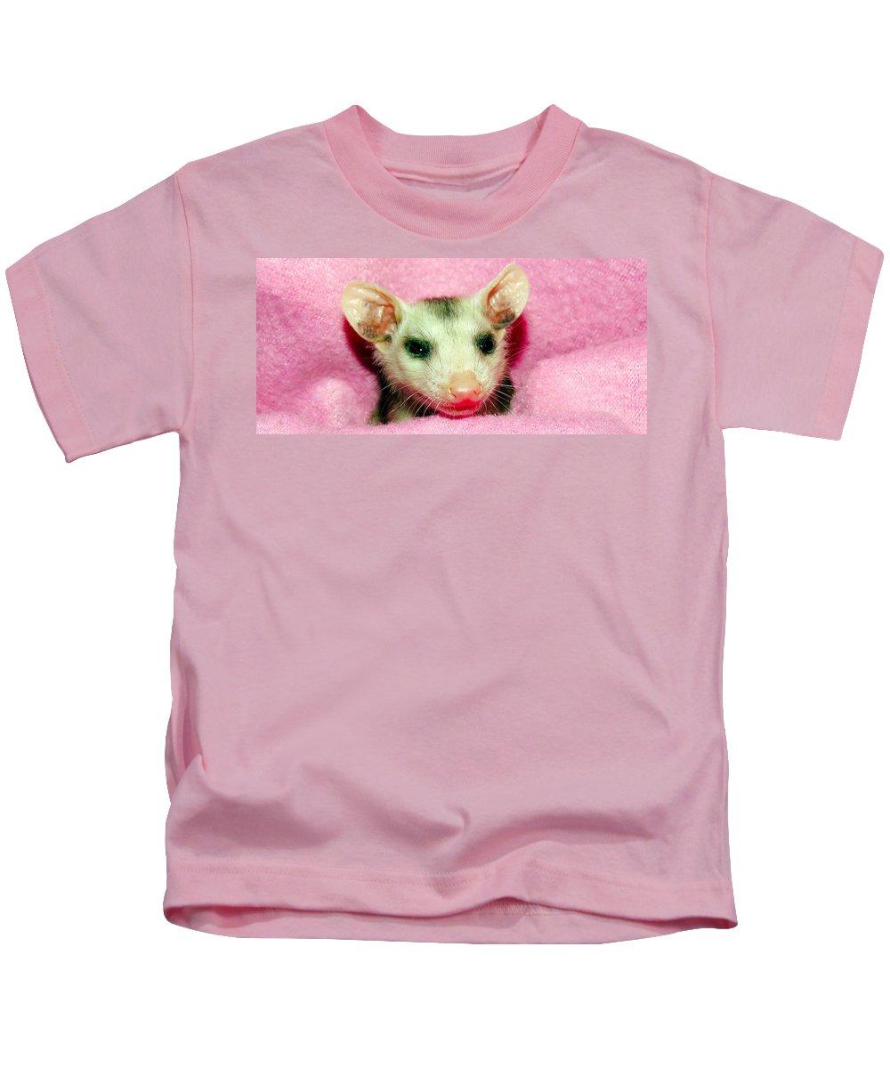 Opossum Kids T-Shirt featuring the photograph Sleepy by Art Dingo