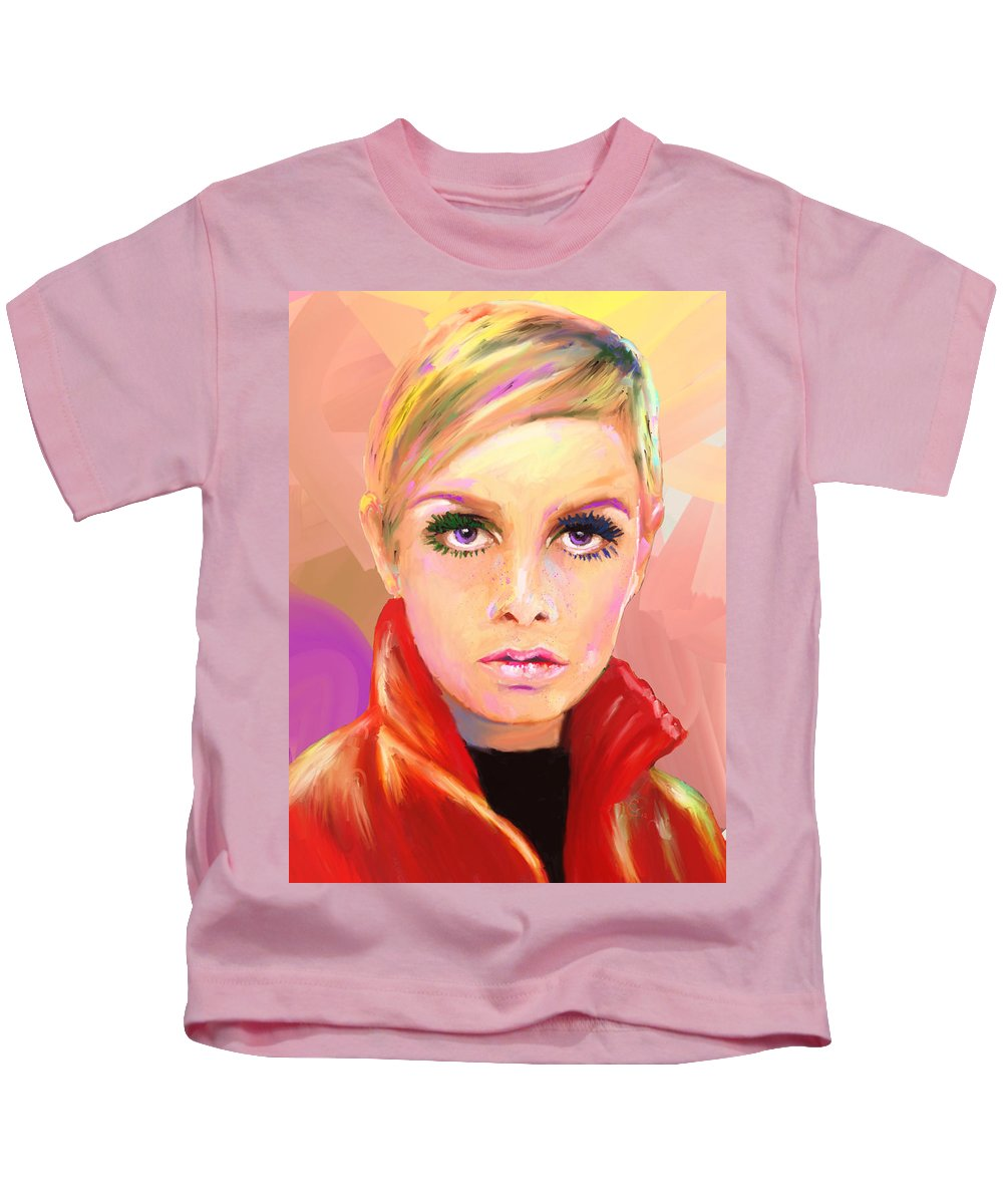 Twiggy Kids T-Shirt featuring the mixed media Twiggs by G Cannon