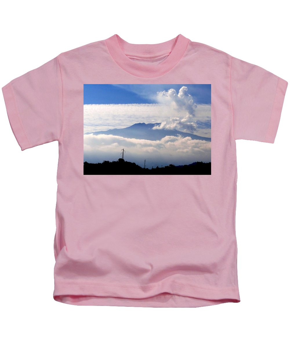 Mediterranean Kids T-Shirt featuring the photograph View Of Mt. Etna From Taormina Sicily by Richard Rosenshein