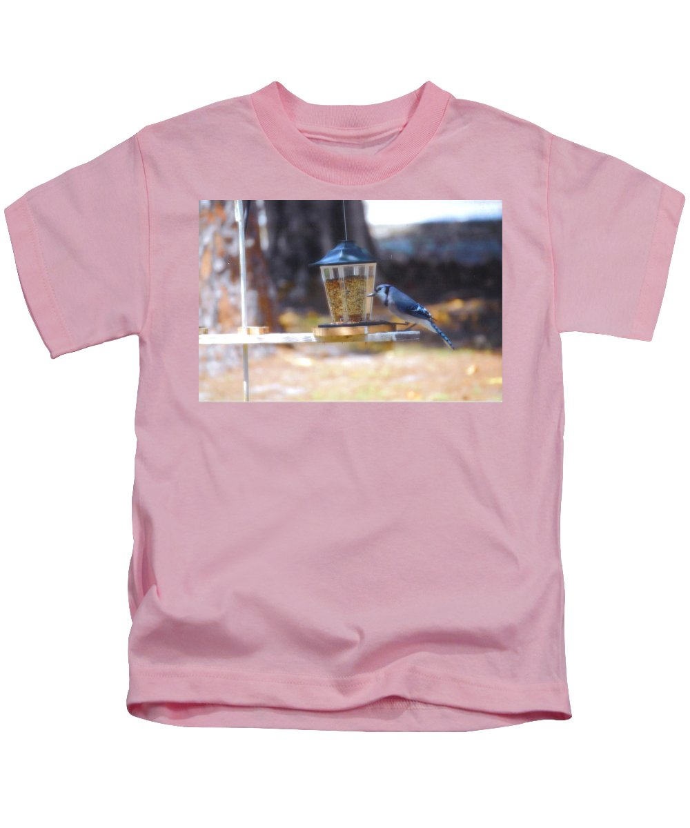 Feeding At My Bird Feeder Kids T-Shirt featuring the photograph Bluejay by Robert Floyd