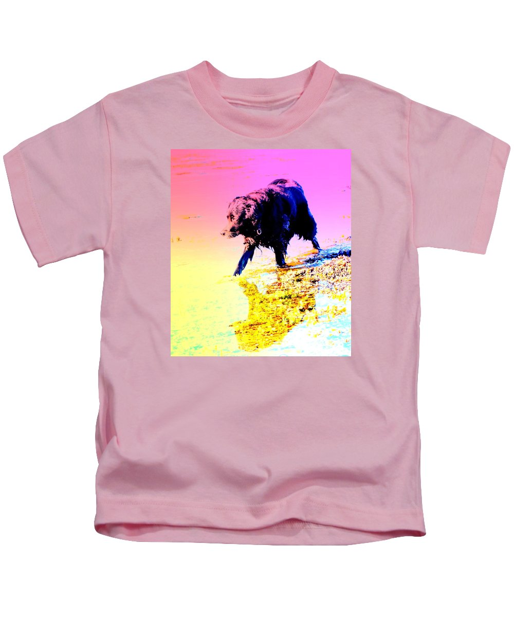 Dog Kids T-Shirt featuring the photograph a pretty hot day at the beach and I need to be chilling my feet by Hilde Widerberg