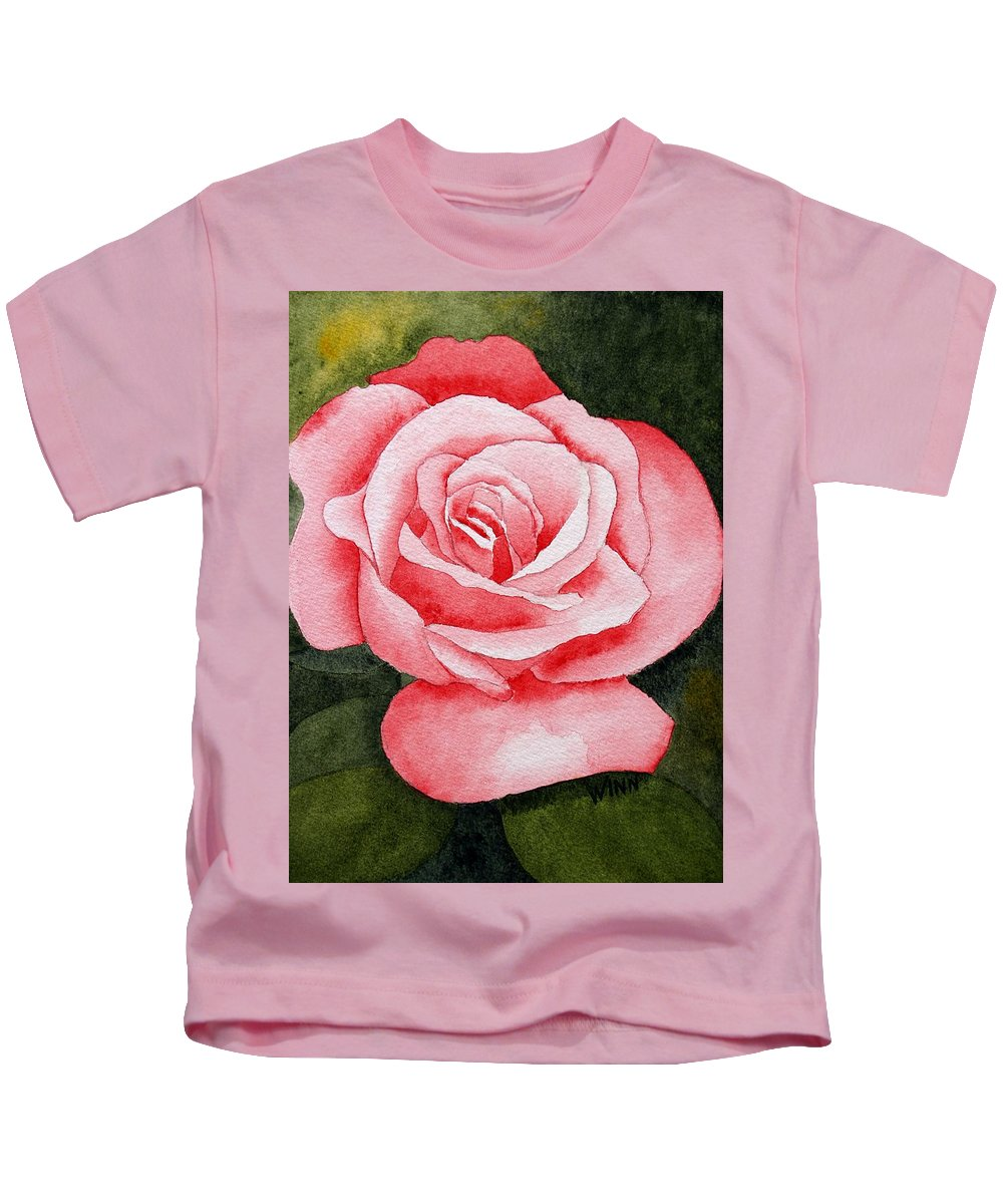 Watercolor Kids T-Shirt featuring the painting A Rose By Any Other Name by Brett Winn