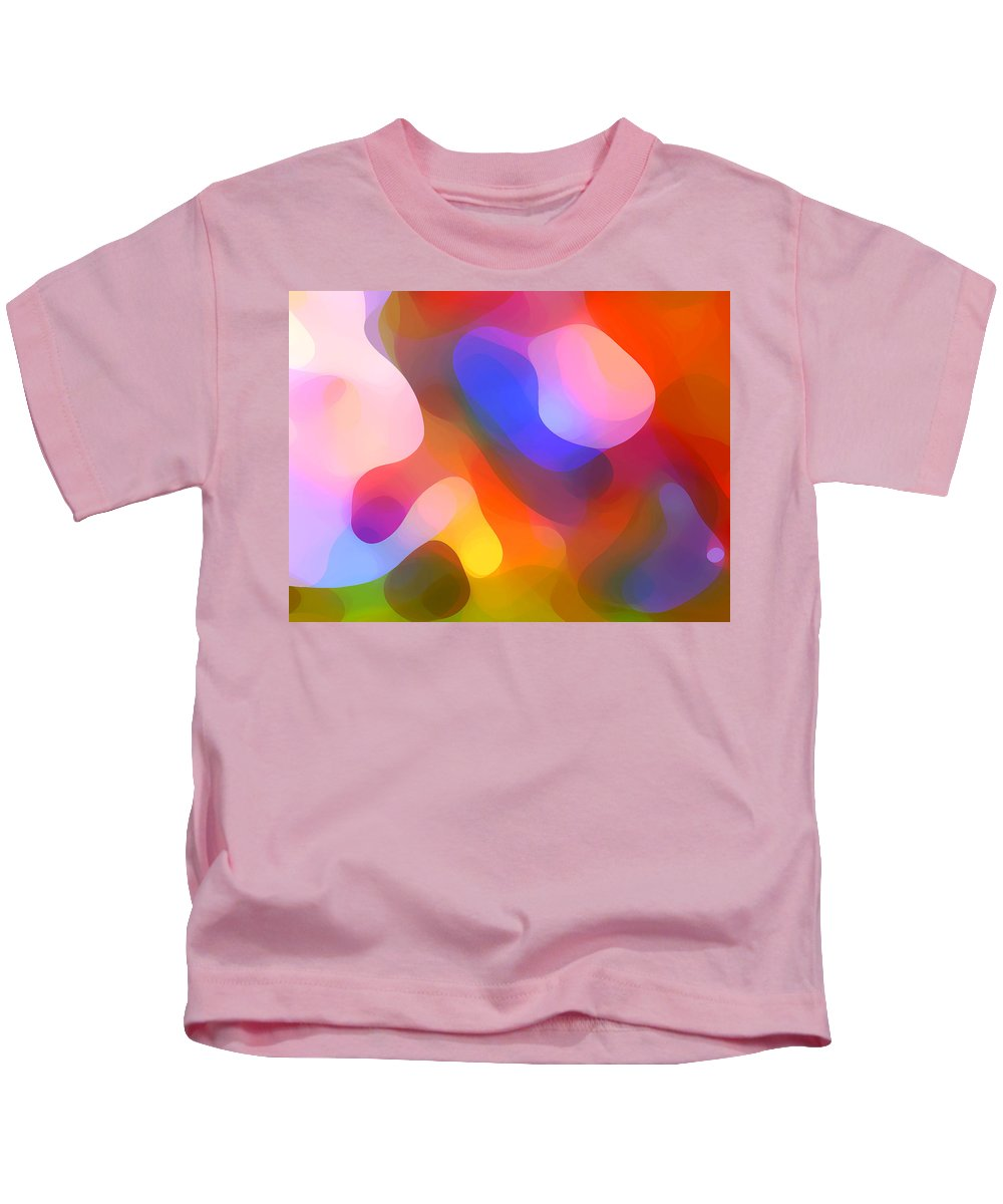 Abstract Art Kids T-Shirt featuring the painting Abstract Dappled Sunlight by Amy Vangsgard