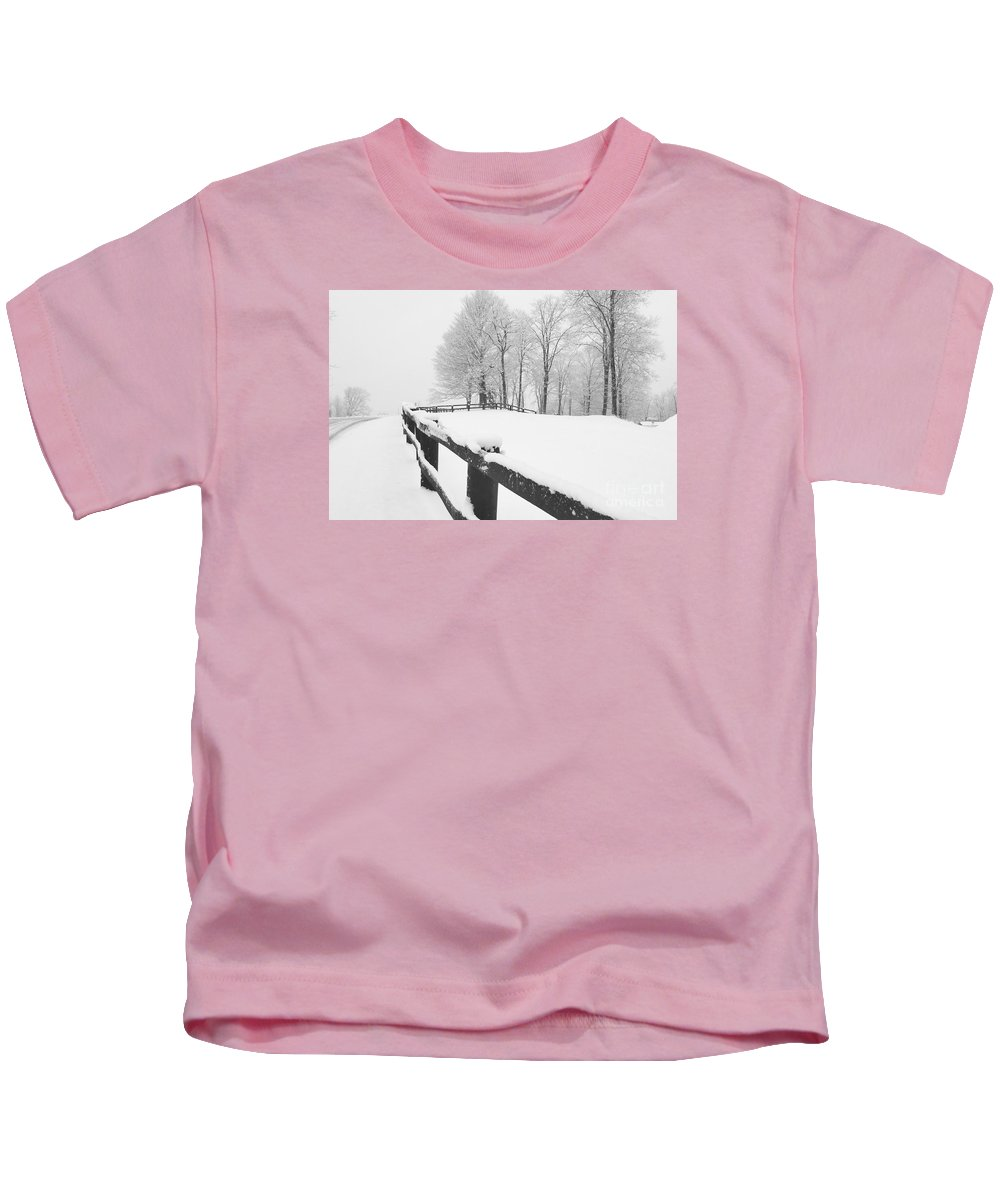 New England Kids T-Shirt featuring the photograph After The Winter Storm by Marcel J Goetz Sr