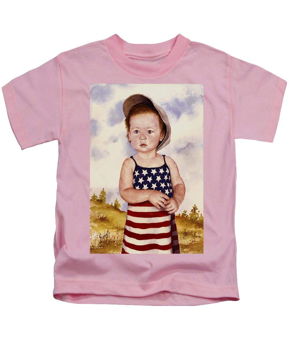 Kid Kids T-Shirt featuring the painting An All American Girl Named Ireland by Sam Sidders
