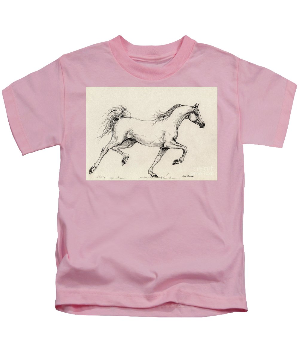 Grey Kids T-Shirt featuring the drawing Arabian Horse Drawing 31 by Angel Tarantella