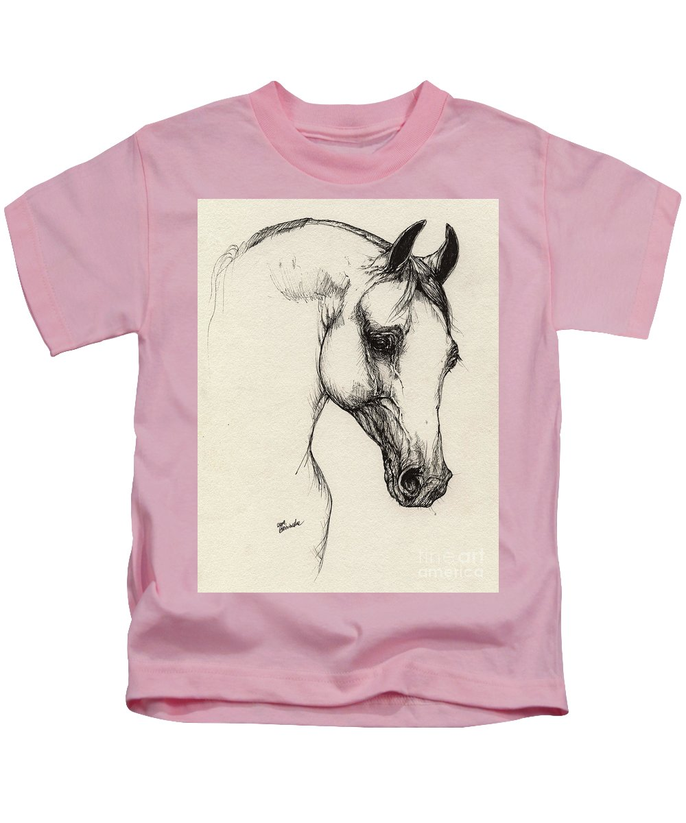 Horse Kids T-Shirt featuring the drawing Arabian Horse Drawing 32 by Angel Ciesniarska