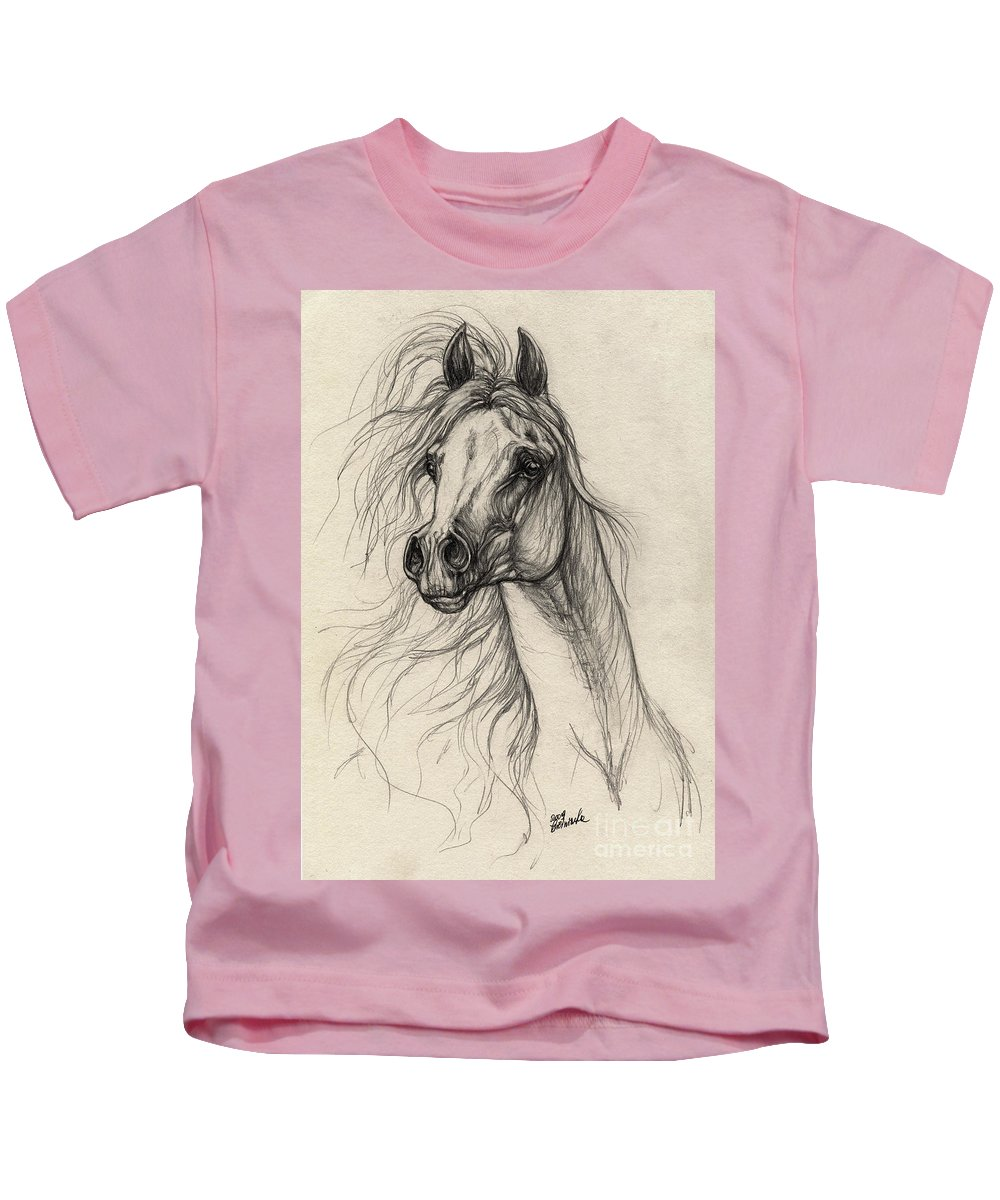 Horse Kids T-Shirt featuring the drawing Arabian Horse Drawing 37 by Angel Ciesniarska