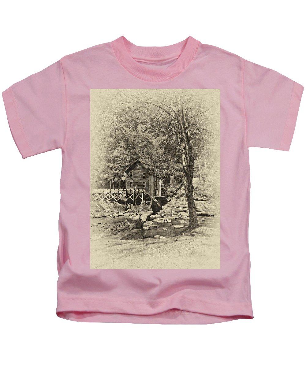 West Virginia Kids T-Shirt featuring the photograph Autumn Mill 2 Antique by Steve Harrington