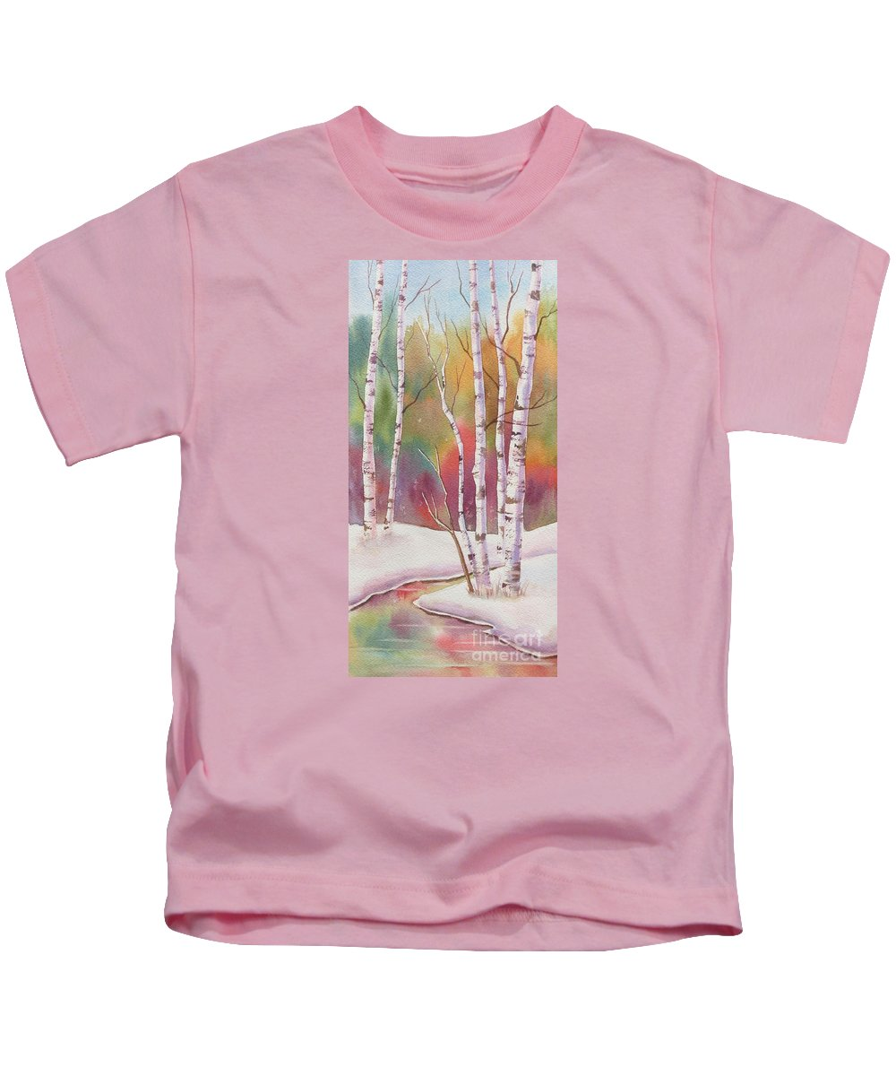 Autumn Kids T-Shirt featuring the painting Autumn Snow by Deborah Ronglien
