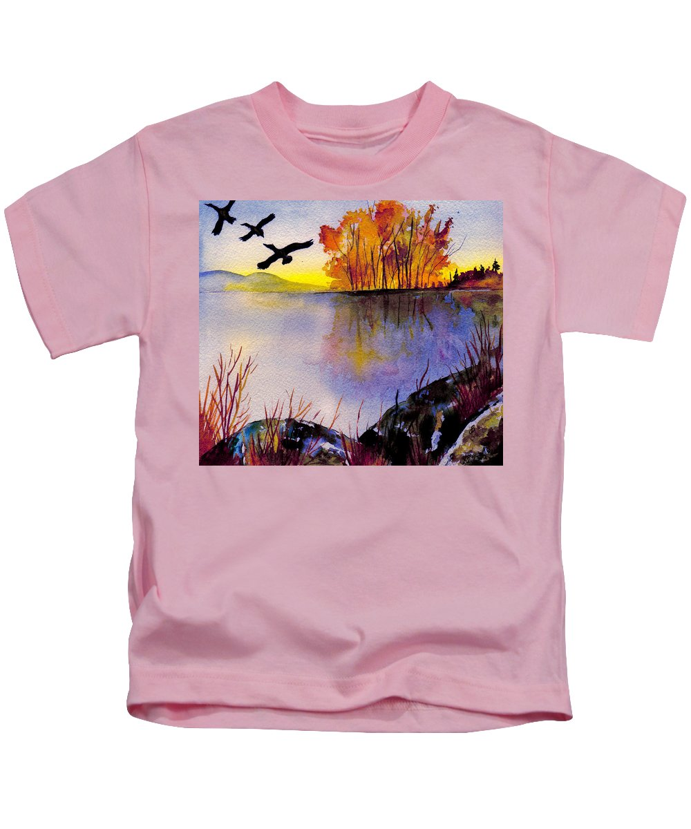 Landscape Kids T-Shirt featuring the painting Autumn Sonata by Brenda Owen