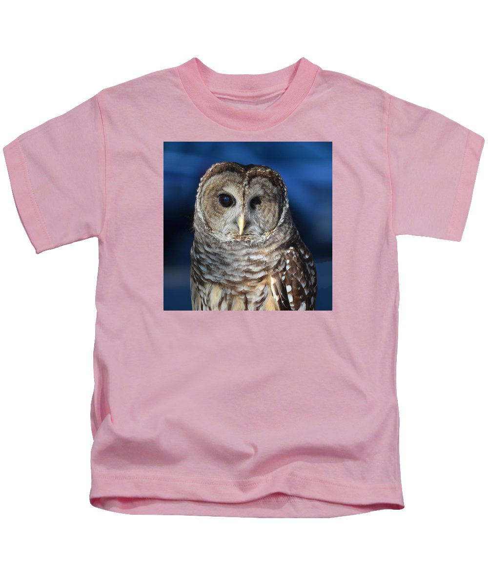 Barred Kids T-Shirt featuring the painting Barred Owl by John Latham