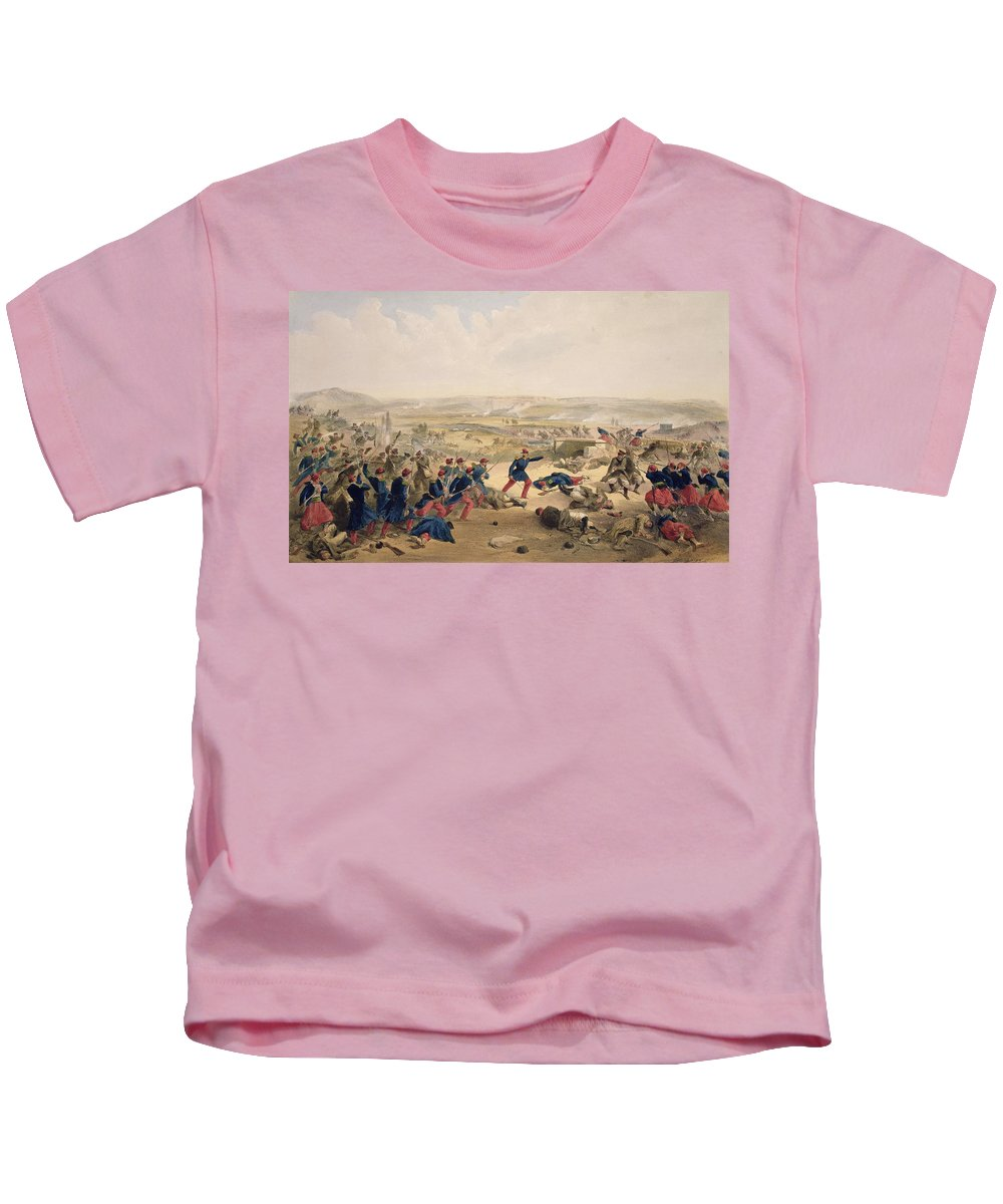 Fighting Kids T-Shirt featuring the drawing Battle Of The Tchernaya, August 16th by William 'Crimea' Simpson