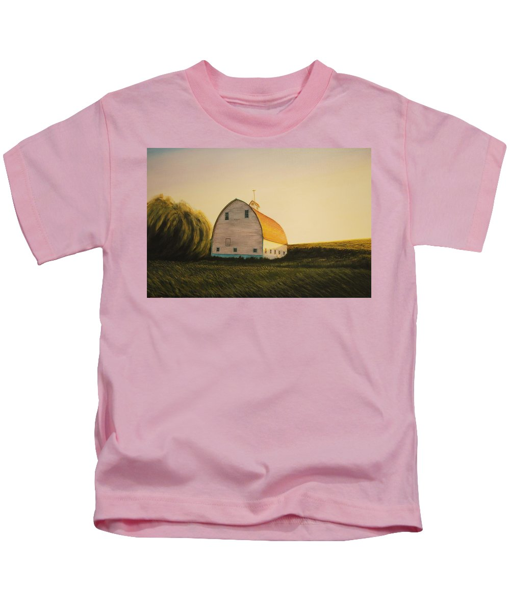 Landscape Kids T-Shirt featuring the painting Becker Barn by Leonard Heid
