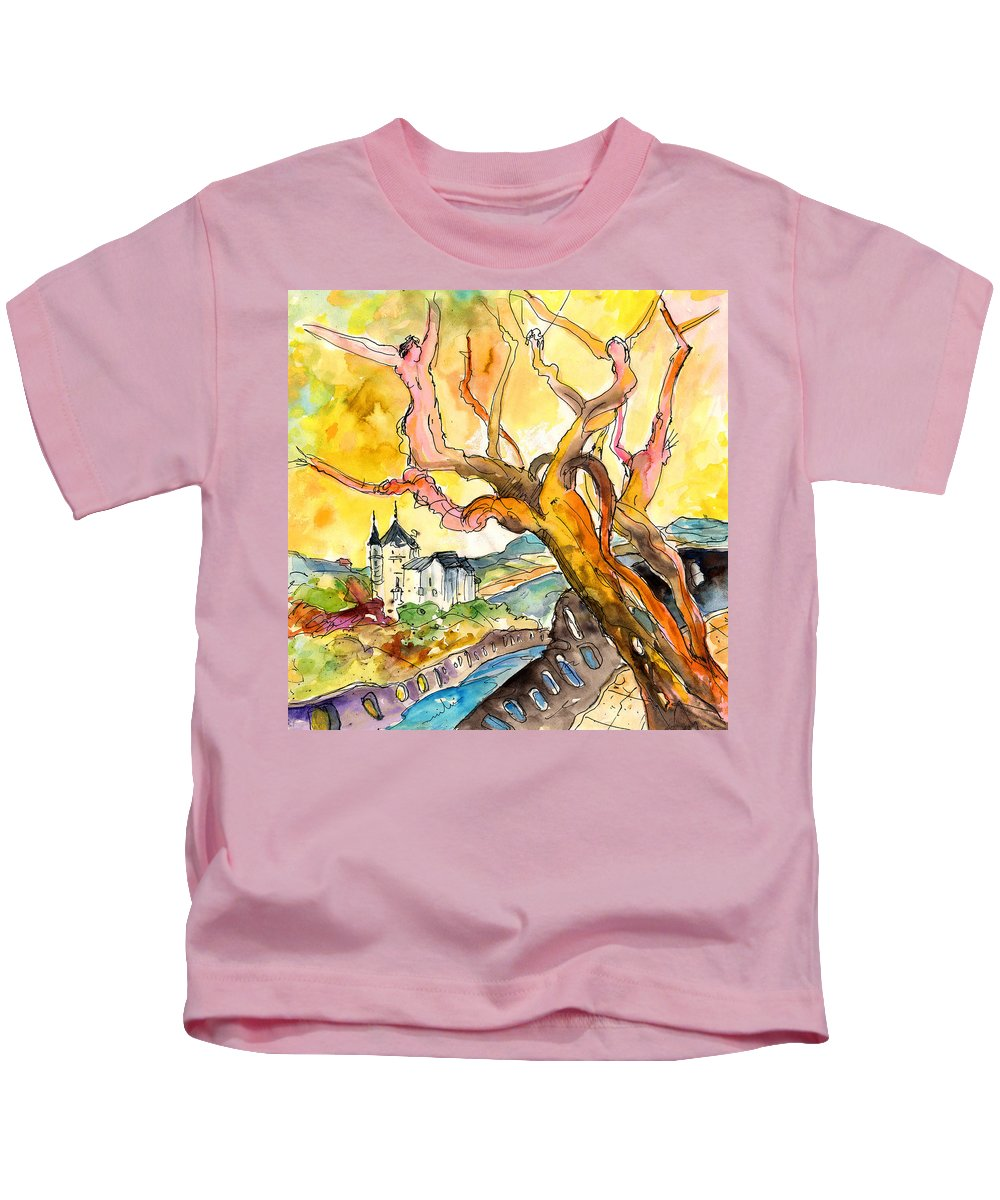 Travel Kids T-Shirt featuring the painting Biarritz 04 by Miki De Goodaboom