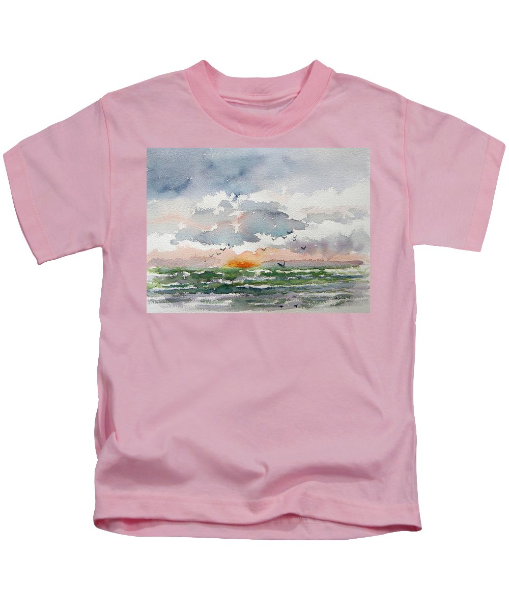 Watercolor Kids T-Shirt featuring the painting Birds Rising IIi by Julianne Felton