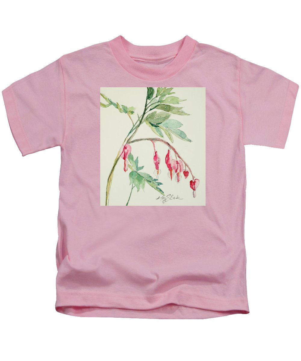 Watercolor Kids T-Shirt featuring the painting Bleeding Hearts IIi by Mary Benke