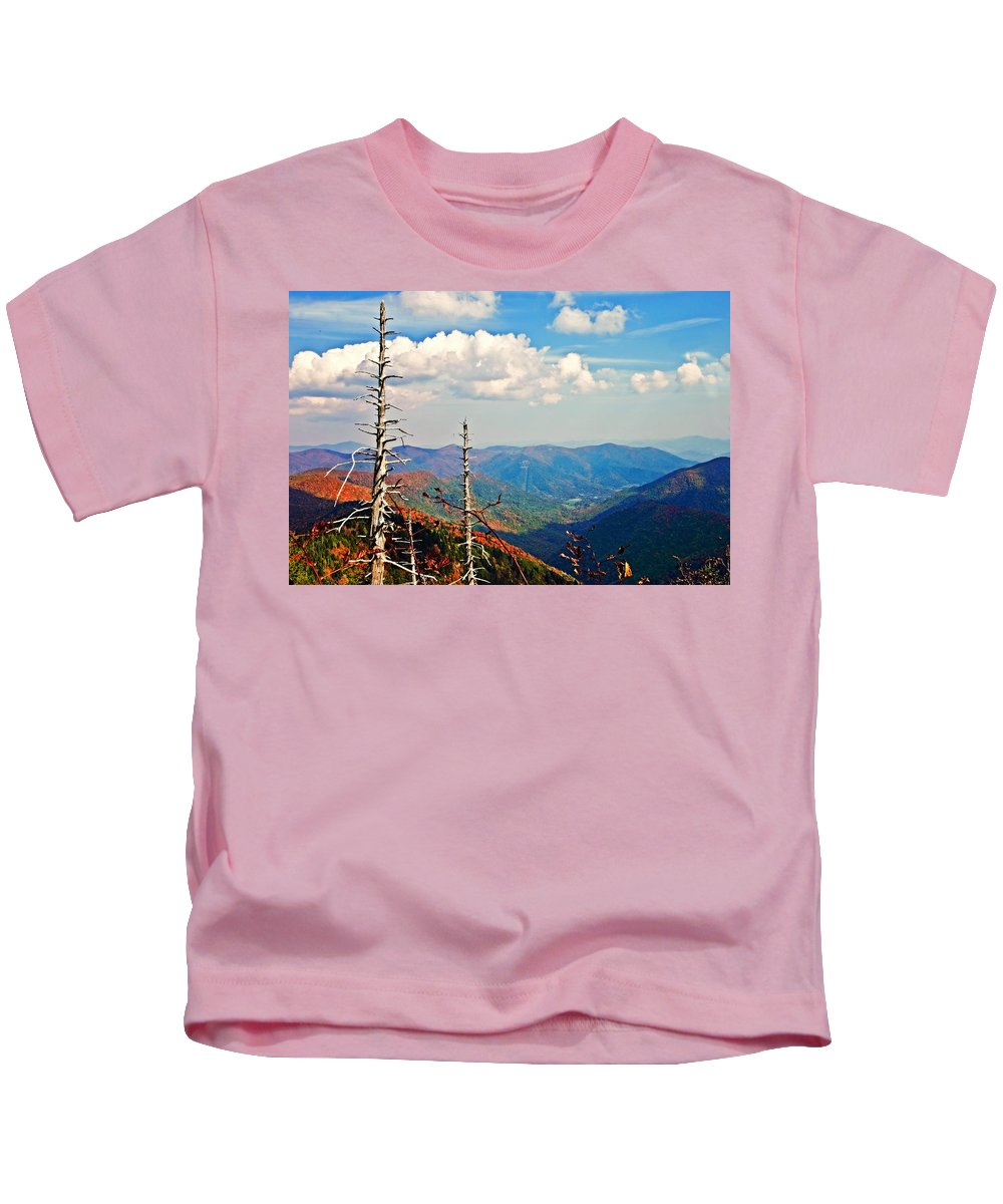 Trees Kids T-Shirt featuring the photograph Blue Ridge Parkway Art-trees And Mountains by Susan Leggett