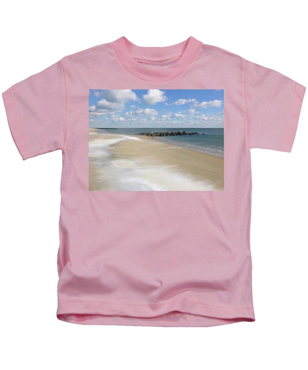 Ocean Grove Kids T-Shirt featuring the photograph Blue Winter Sea And Sky by Ellen Paull