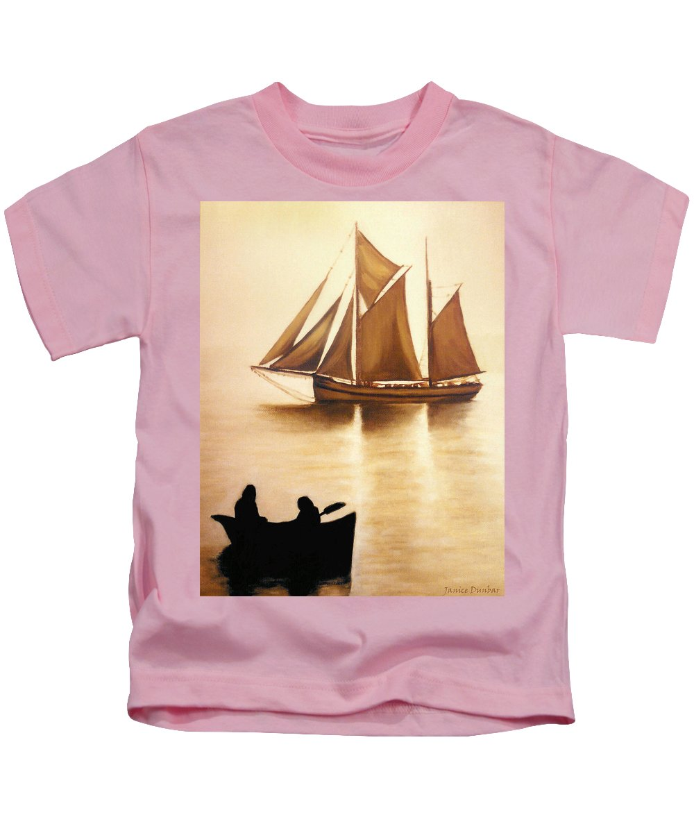 Painting Kids T-Shirt featuring the painting Boats In Sun Light by Janice Dunbar