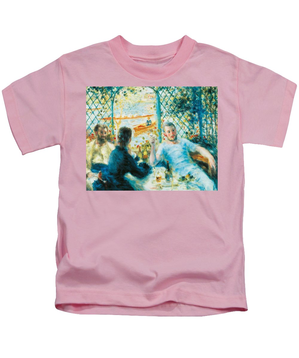 Art Kids T-Shirt featuring the painting Breakfast By The River by Pierre-Auguste Renoir