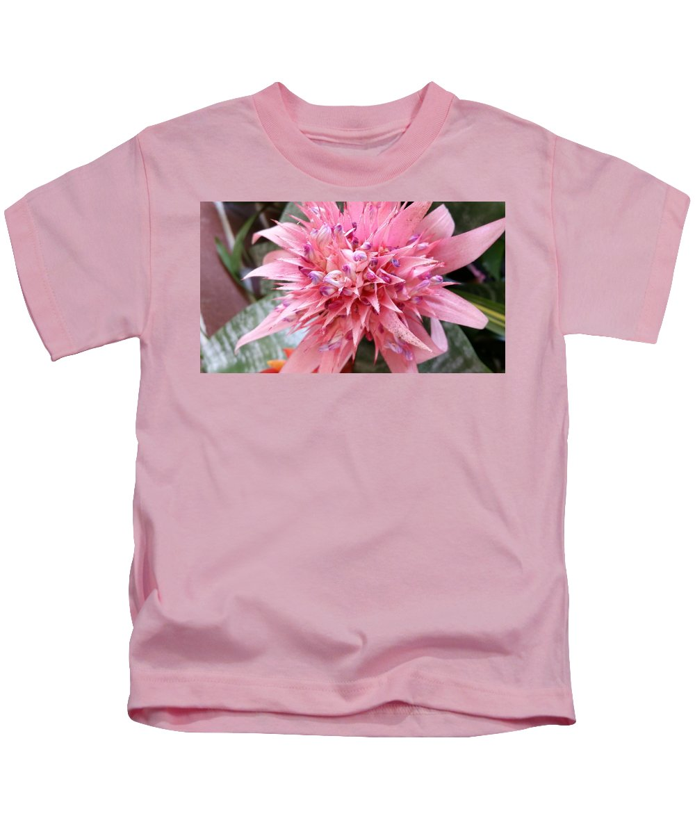 Still Life Kids T-Shirt featuring the photograph Bromeliad Close Up Pink by Mark Victors