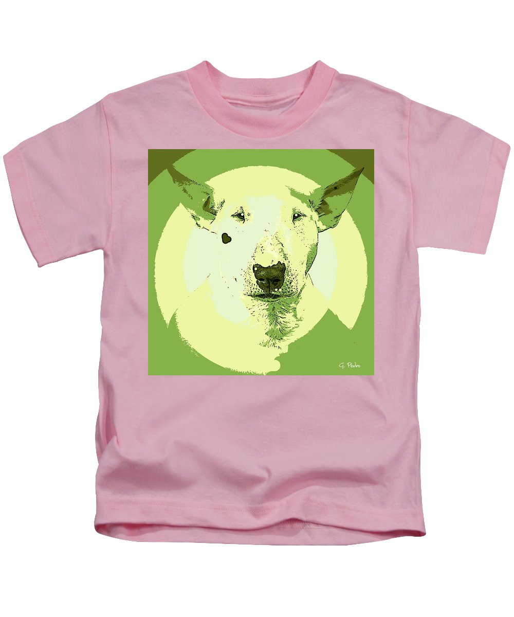Dog Kids T-Shirt featuring the painting Bull Terrier Graphic 2 by George Pedro