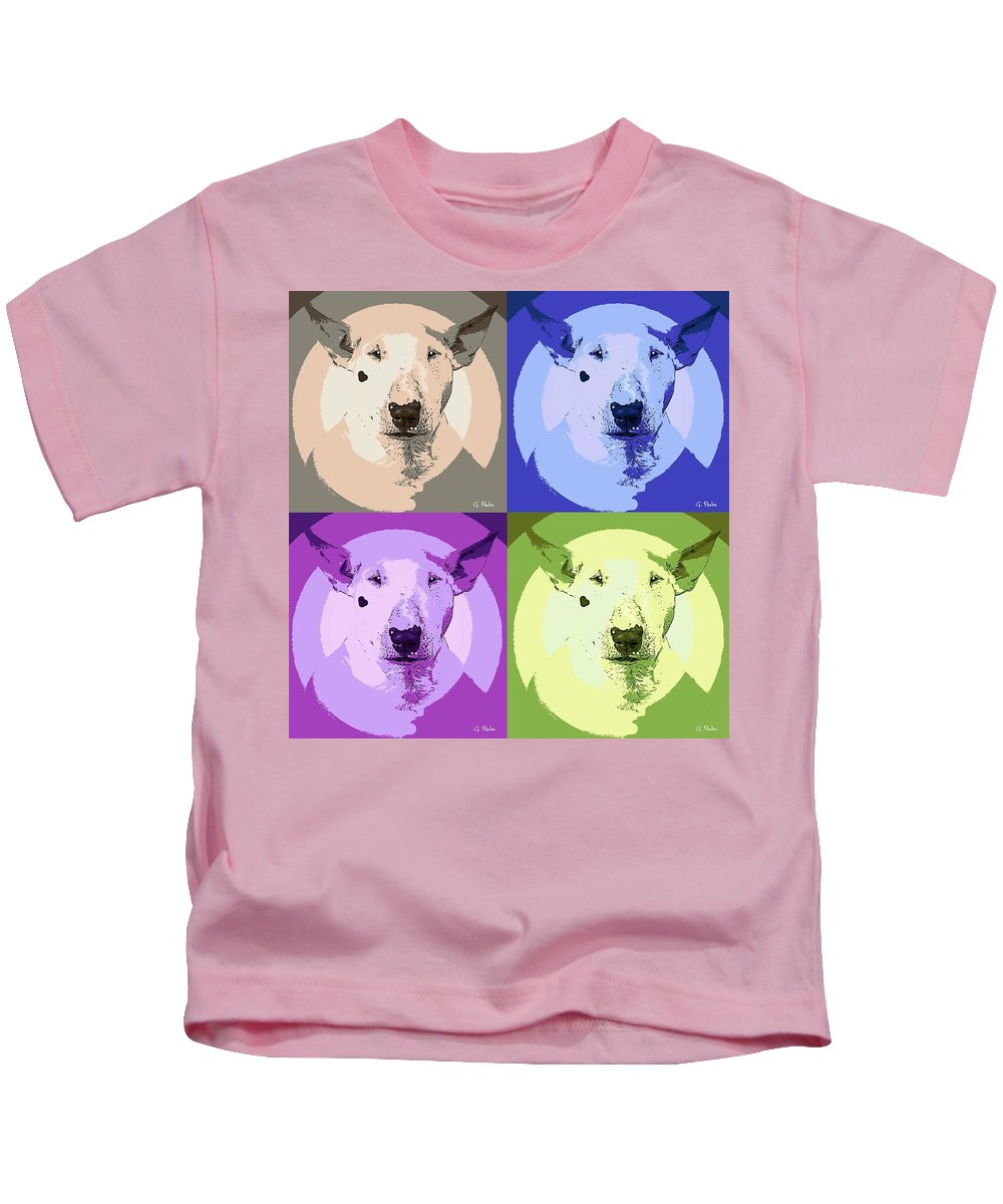 Dog Kids T-Shirt featuring the painting Bull Terrier Pop Art by George Pedro
