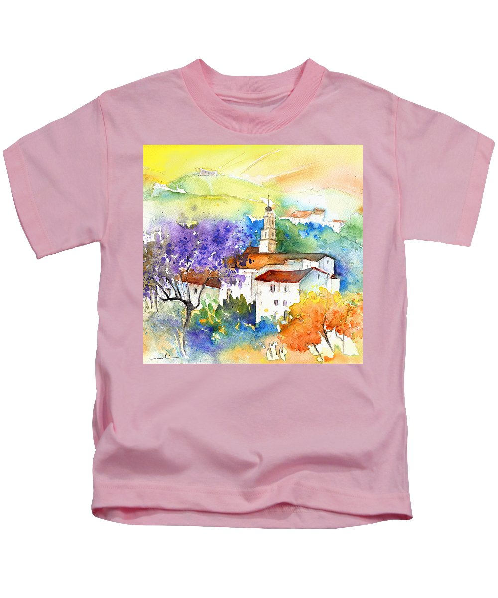 Travel Kids T-Shirt featuring the painting By Teruel Spain 02 by Miki De Goodaboom