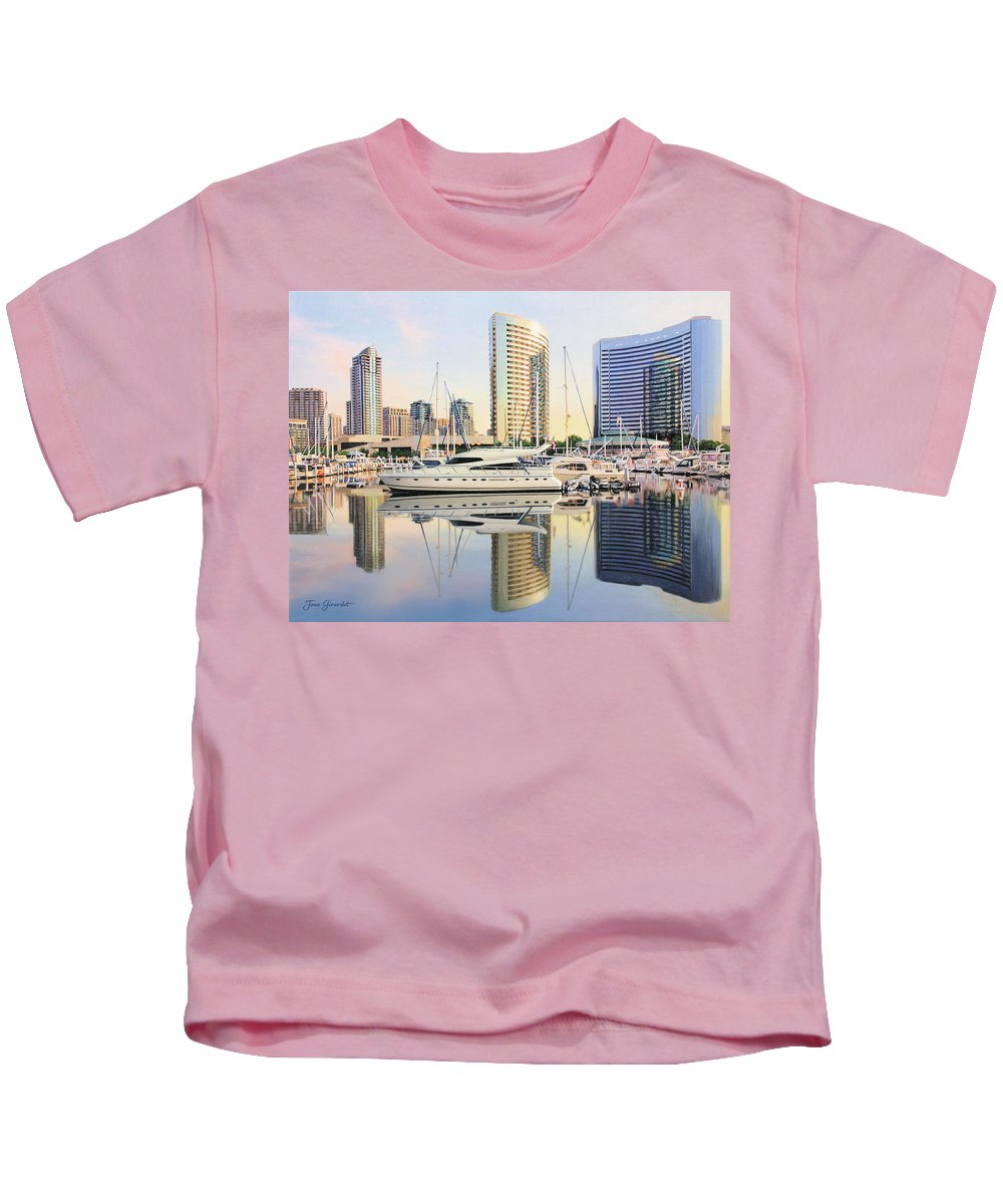 Marina Kids T-Shirt featuring the painting Calm Summer Morning by Jane Girardot