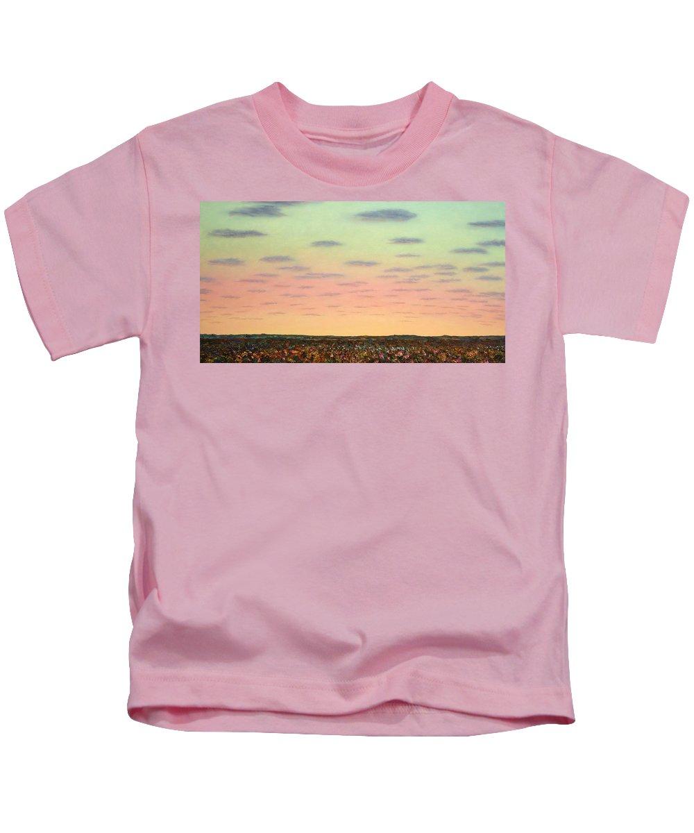 Sunrise Kids T-Shirt featuring the painting Caprock Sunrise by James W Johnson