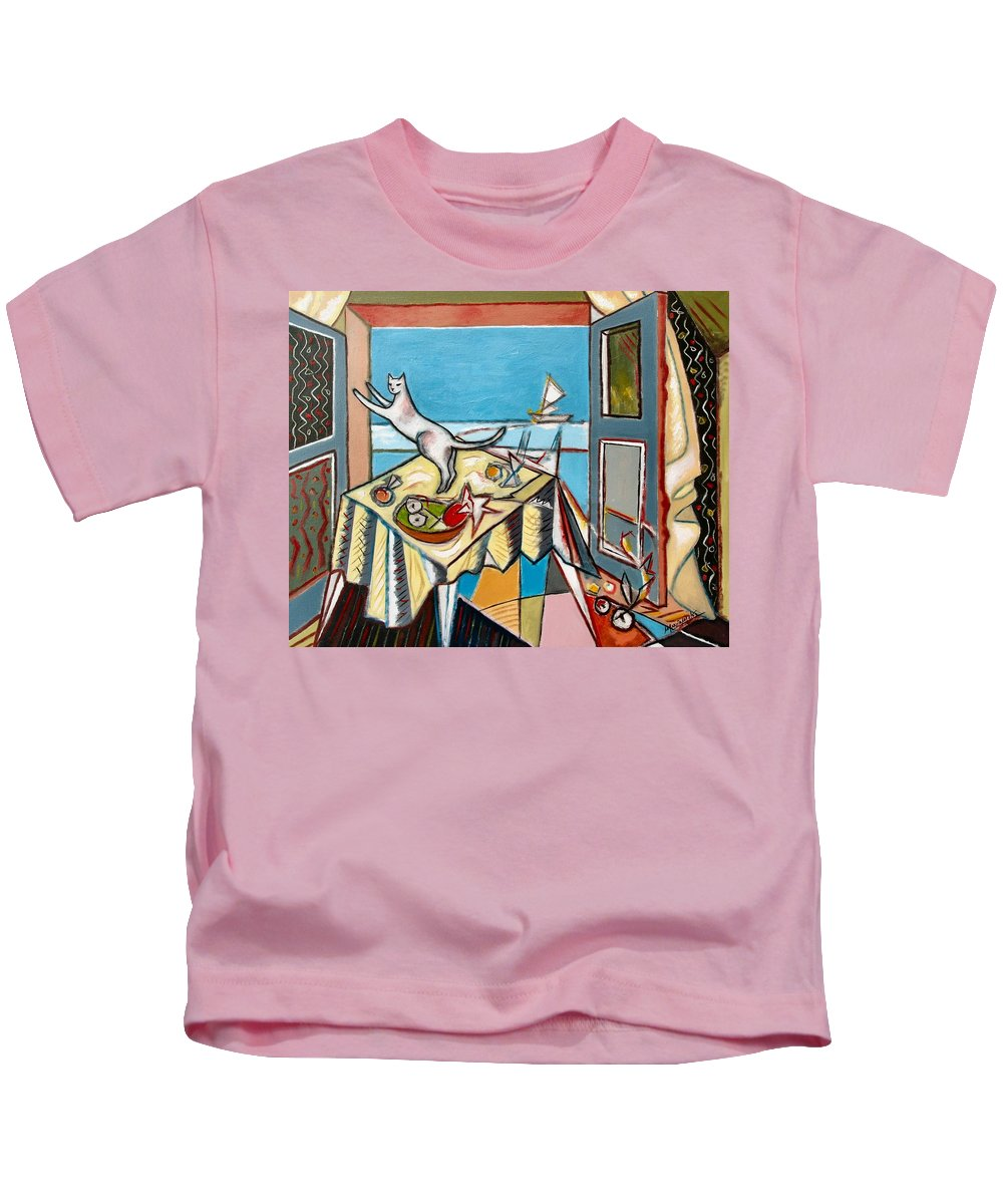 Cat Sailboat Boat Blue Sea Doors Landscape Still Life Fruits View Cubist Curtains Room White Animal Table Tablecloth Window Open Bowl Ornate Standing Ocean Sky Apples Oranges Feline Interior Furniture Scratching Playful Architectural Elements Acrylic Canvasperspective Joyful Happy Colorful Fun Funny Action Moving Jumping Wall  Kids T-Shirt featuring the painting Cat And Sailboat by Marcio Melo