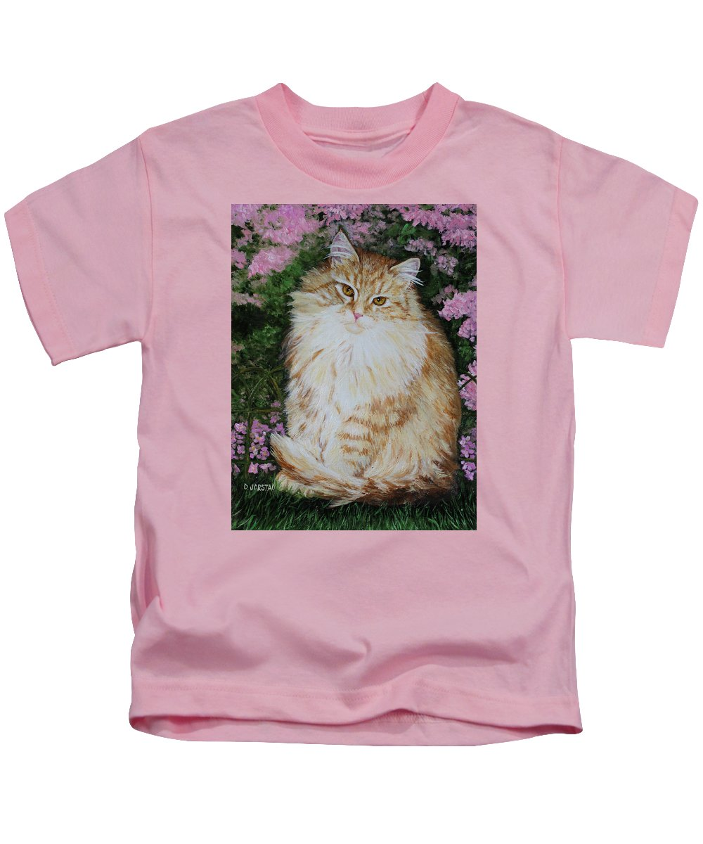 'cat Print Fine Art Kids T-Shirt featuring the painting Kitten Cat Painting Perfect For Child's Room Art by Diane Jorstad