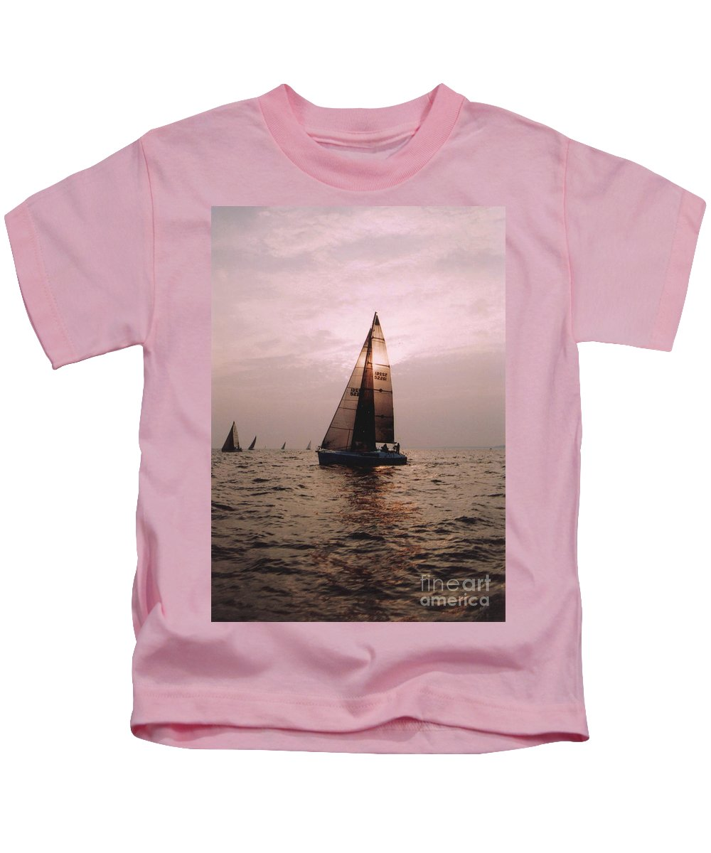Sailboat Kids T-Shirt featuring the photograph Caught It by Kathleen Struckle