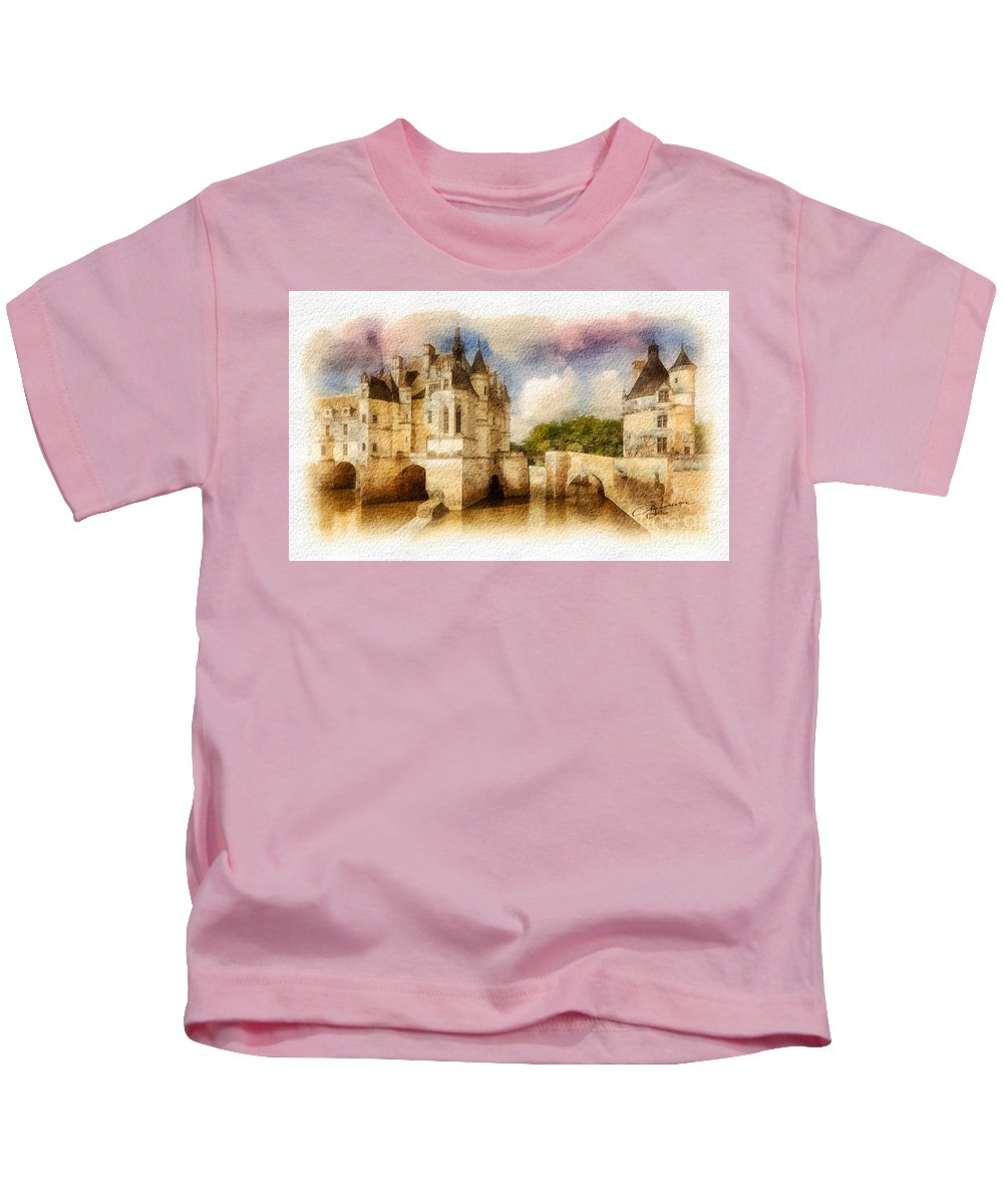 Chenonceau Kids T-Shirt featuring the painting Chenonceau by Mo T