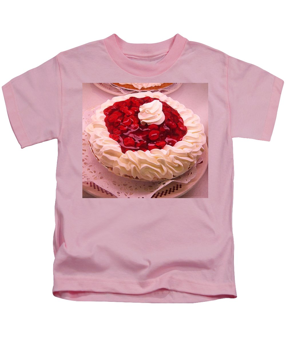 Still Life Kids T-Shirt featuring the painting Cherry Pie With Whip Cream by Amy Vangsgard