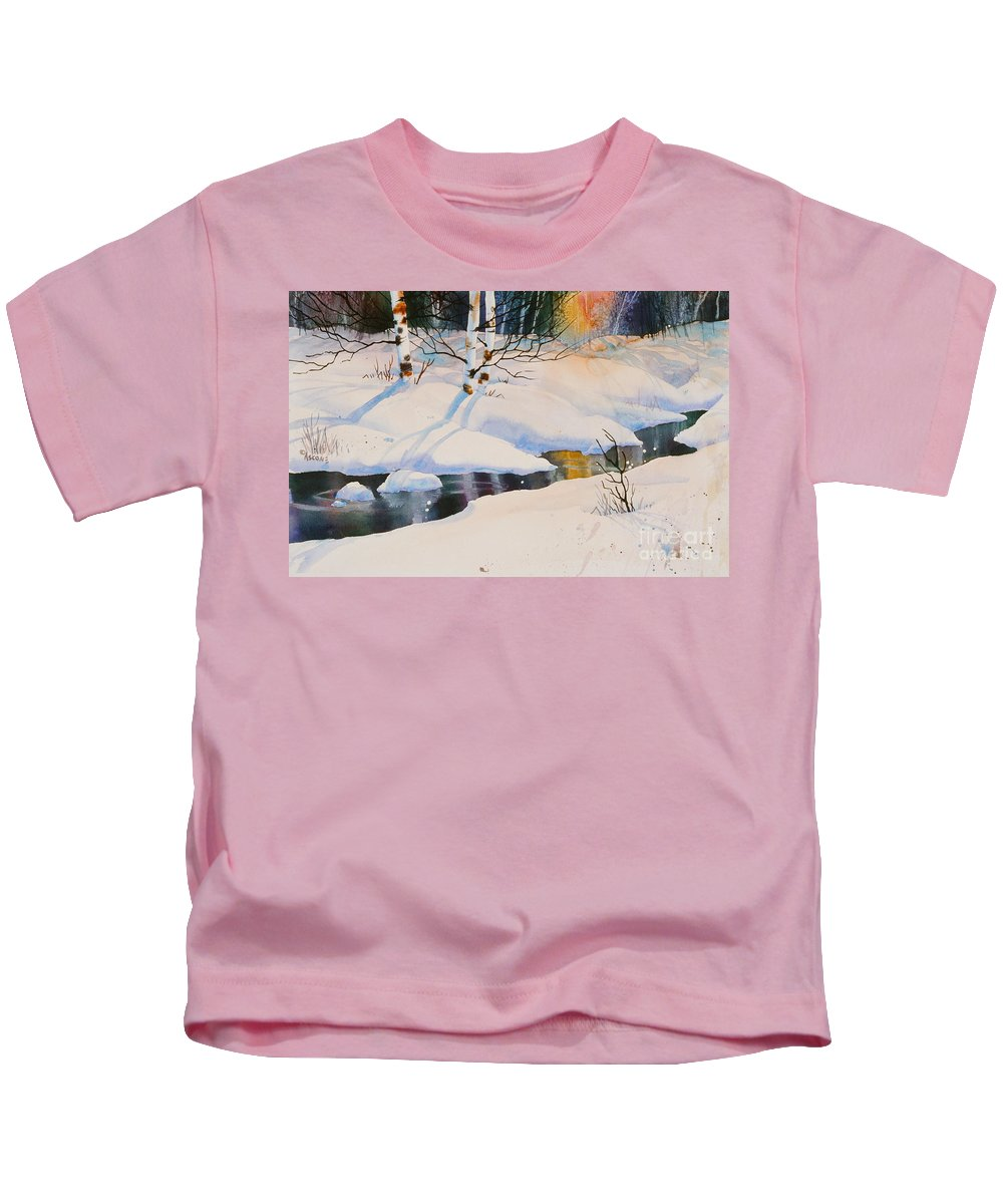 Chester Creek Shadows Kids T-Shirt featuring the painting Chester Creek Shadows by Teresa Ascone