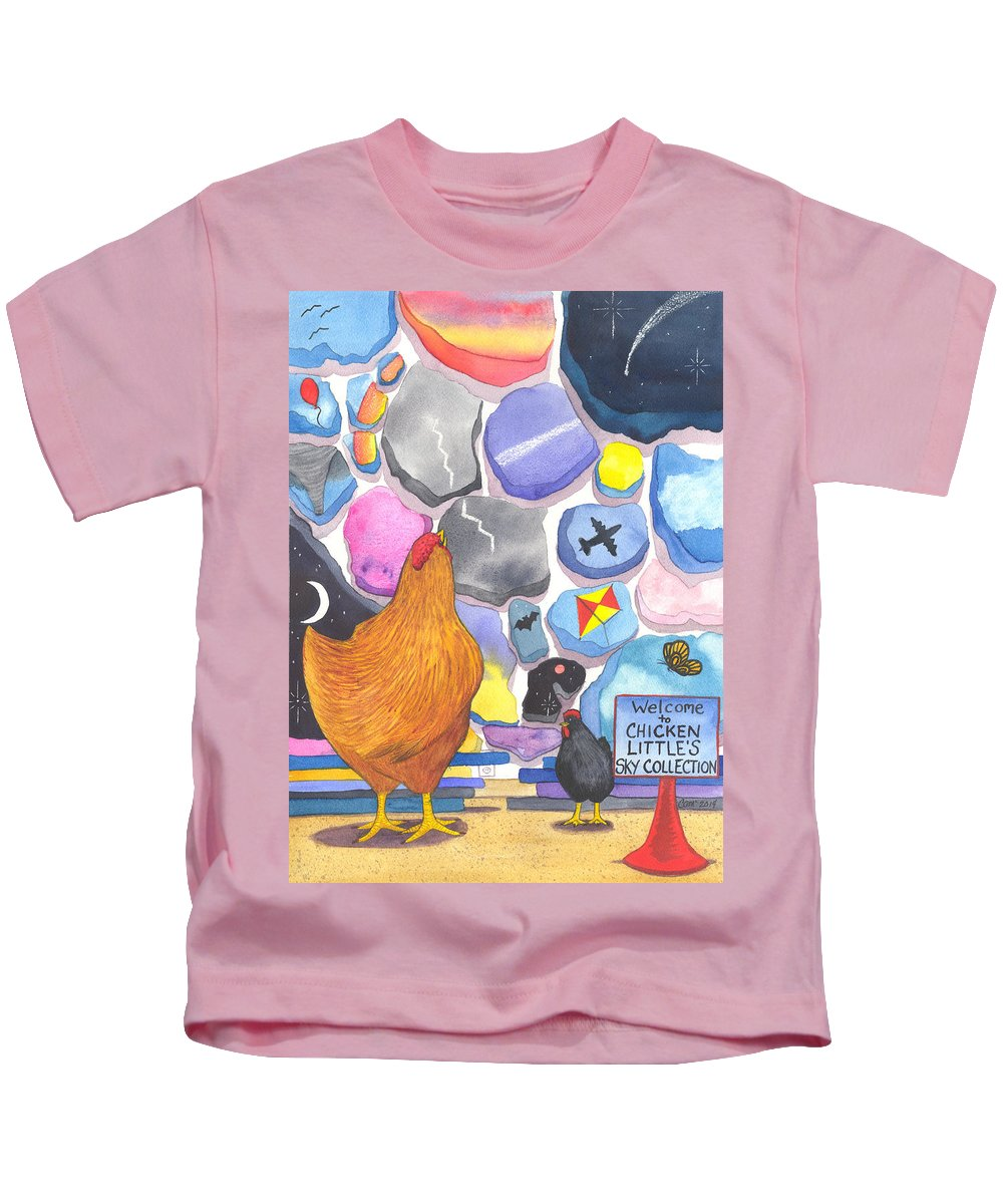 Chicken Kids T-Shirt featuring the painting Chicken Littles Sky Collection by Catherine G McElroy