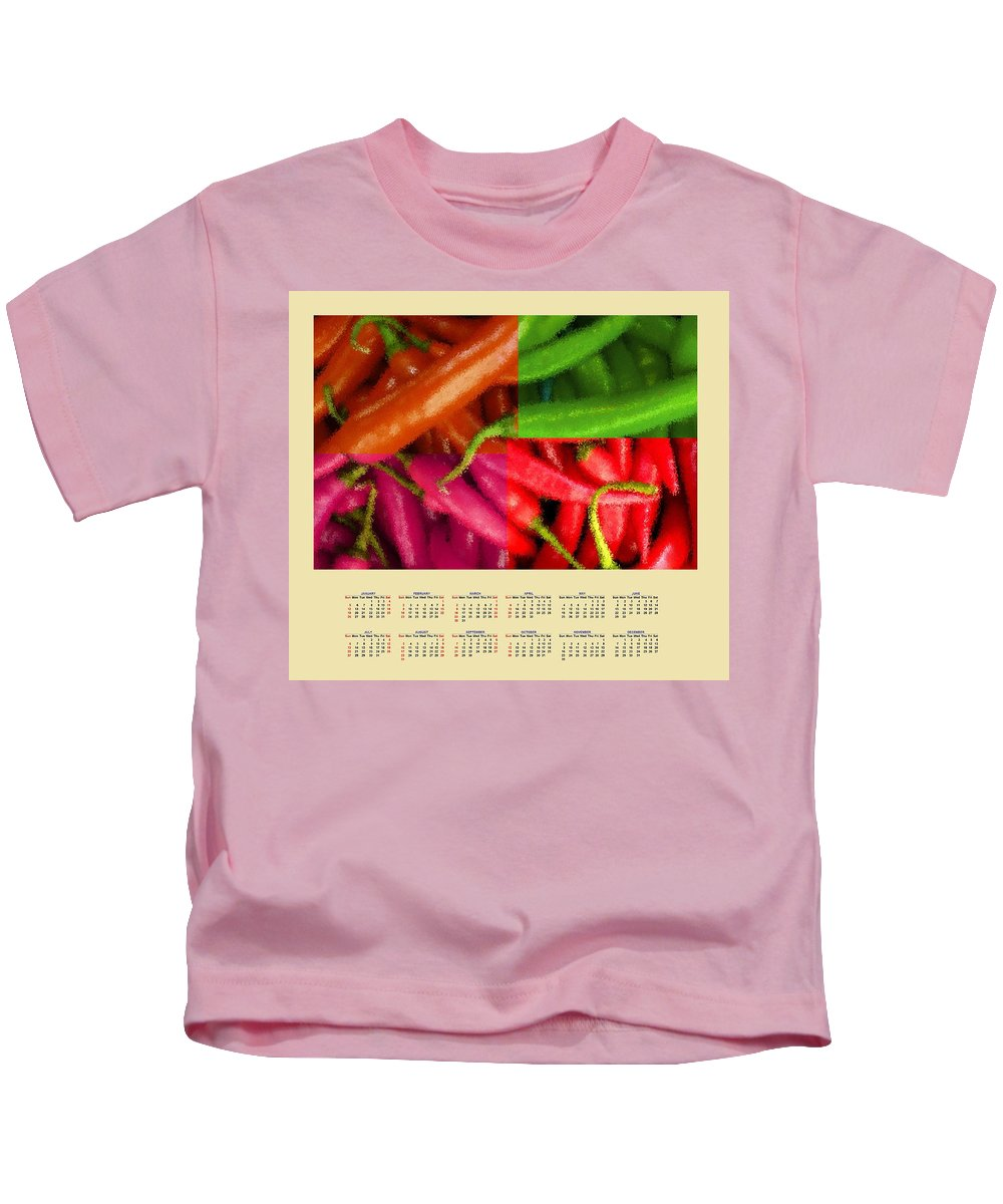 Chili Kids T-Shirt featuring the painting Chili Pepper 2014 Calendar by Bruce Nutting
