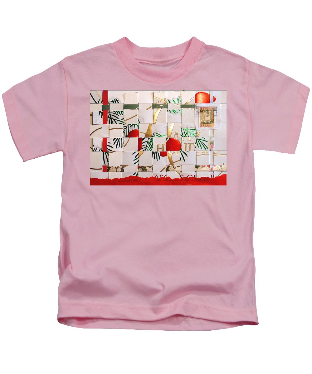 Christmas Kids T-Shirt featuring the mixed media Christmas Card Abstract by Steve Karol