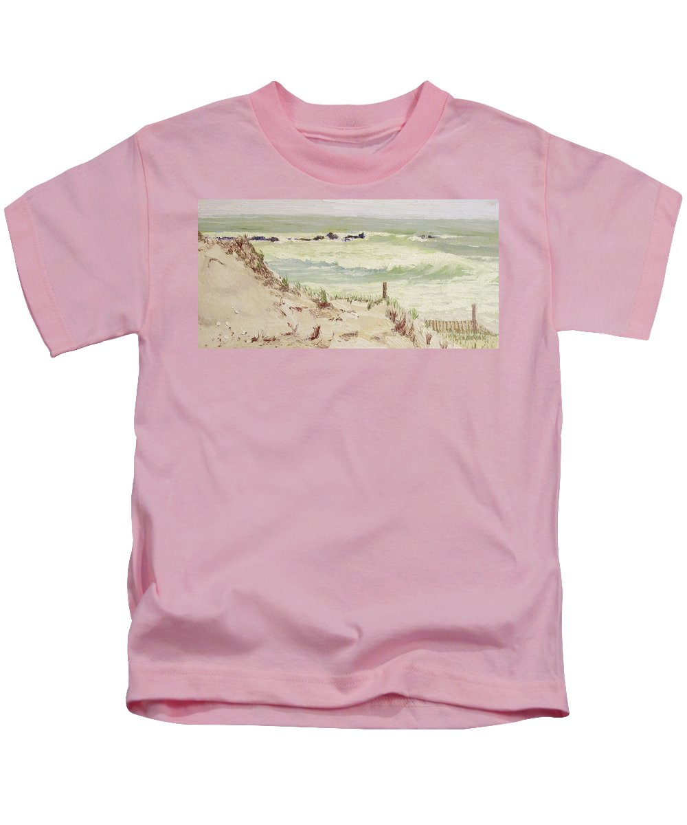 Seascape Kids T-Shirt featuring the painting Cold Day Rough Sea by Lea Novak