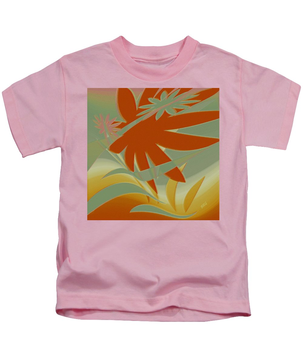 Botanical Abstract Kids T-Shirt featuring the digital art Colored Jungle Orange Splash by Ben and Raisa Gertsberg